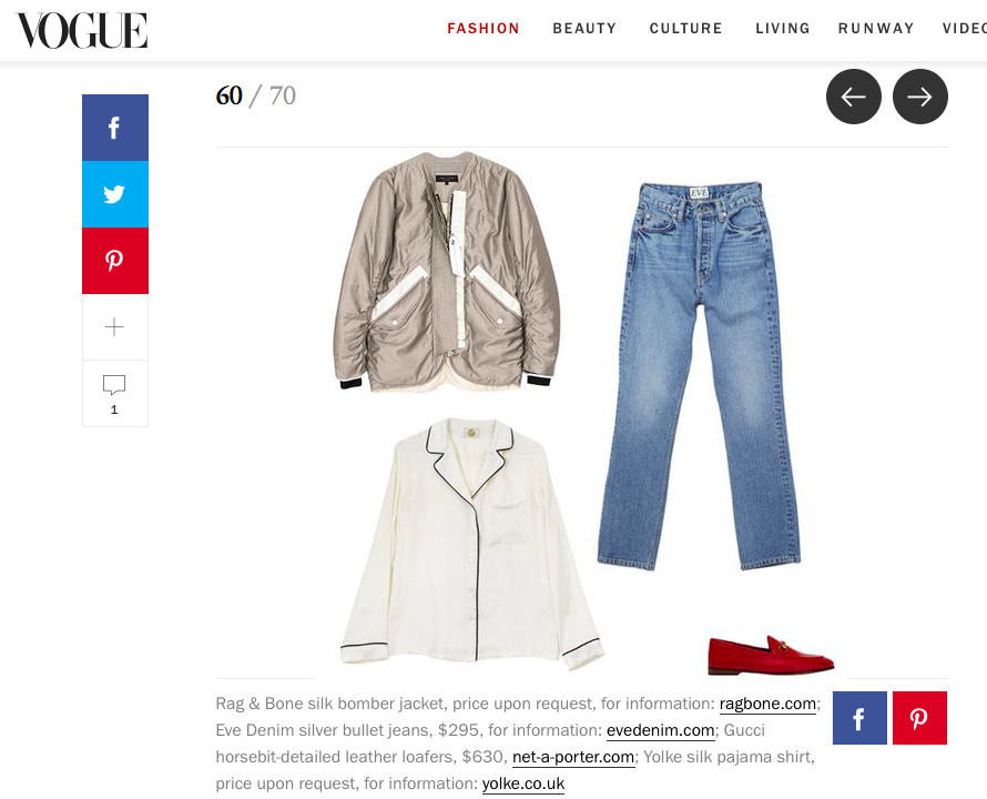 Vogue.com features the  Silver Bullet Jean in Silver Lake