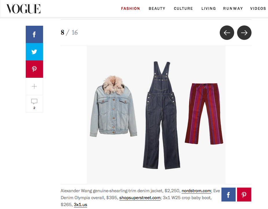 Vogue.com with  Olympia Overall in Raw Denim