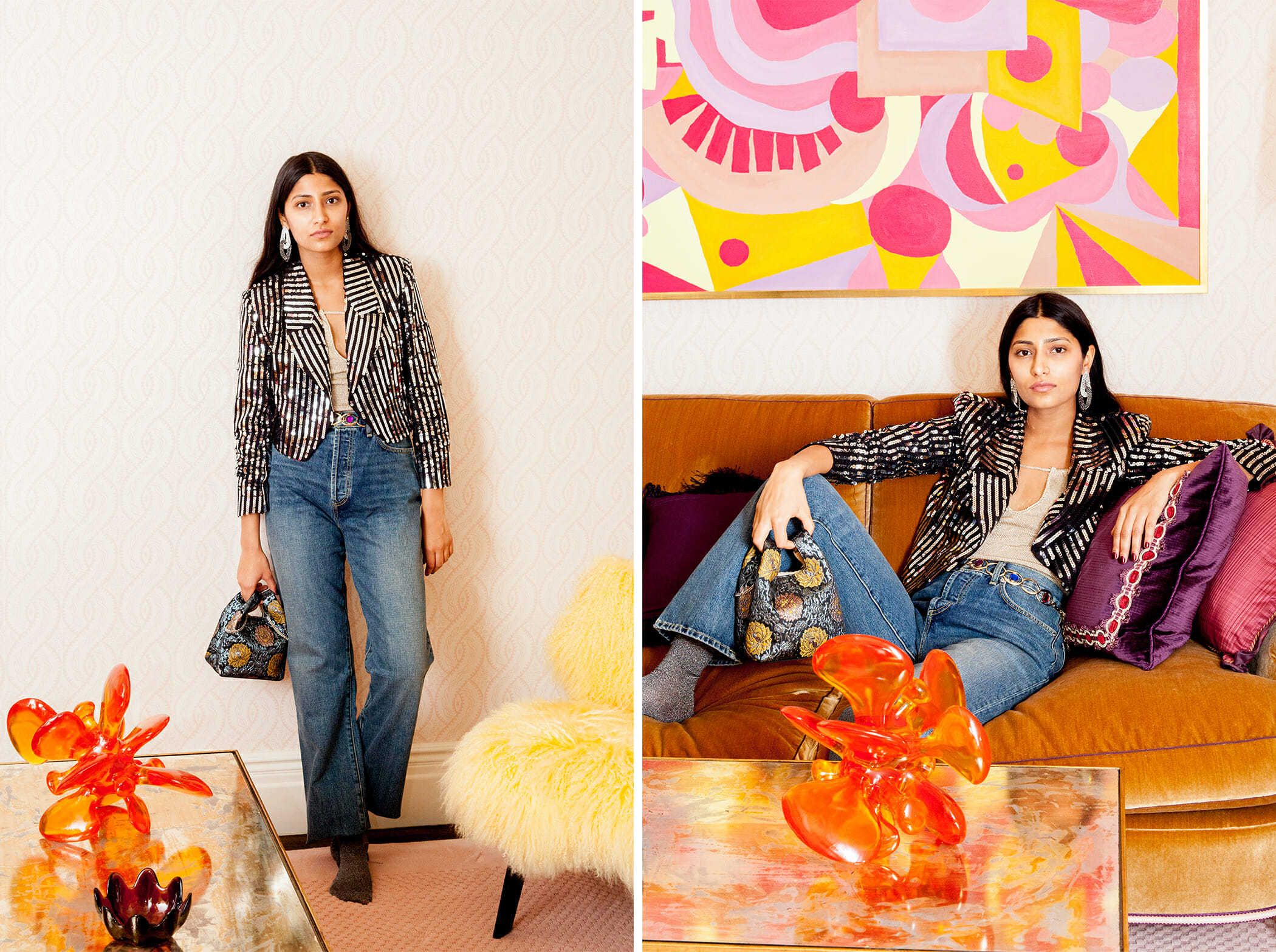 Juliette Jean in Soho wash featured in Man Repeller's  Holiday Party Looks for When You Have to Leave Your Shoes at the Door