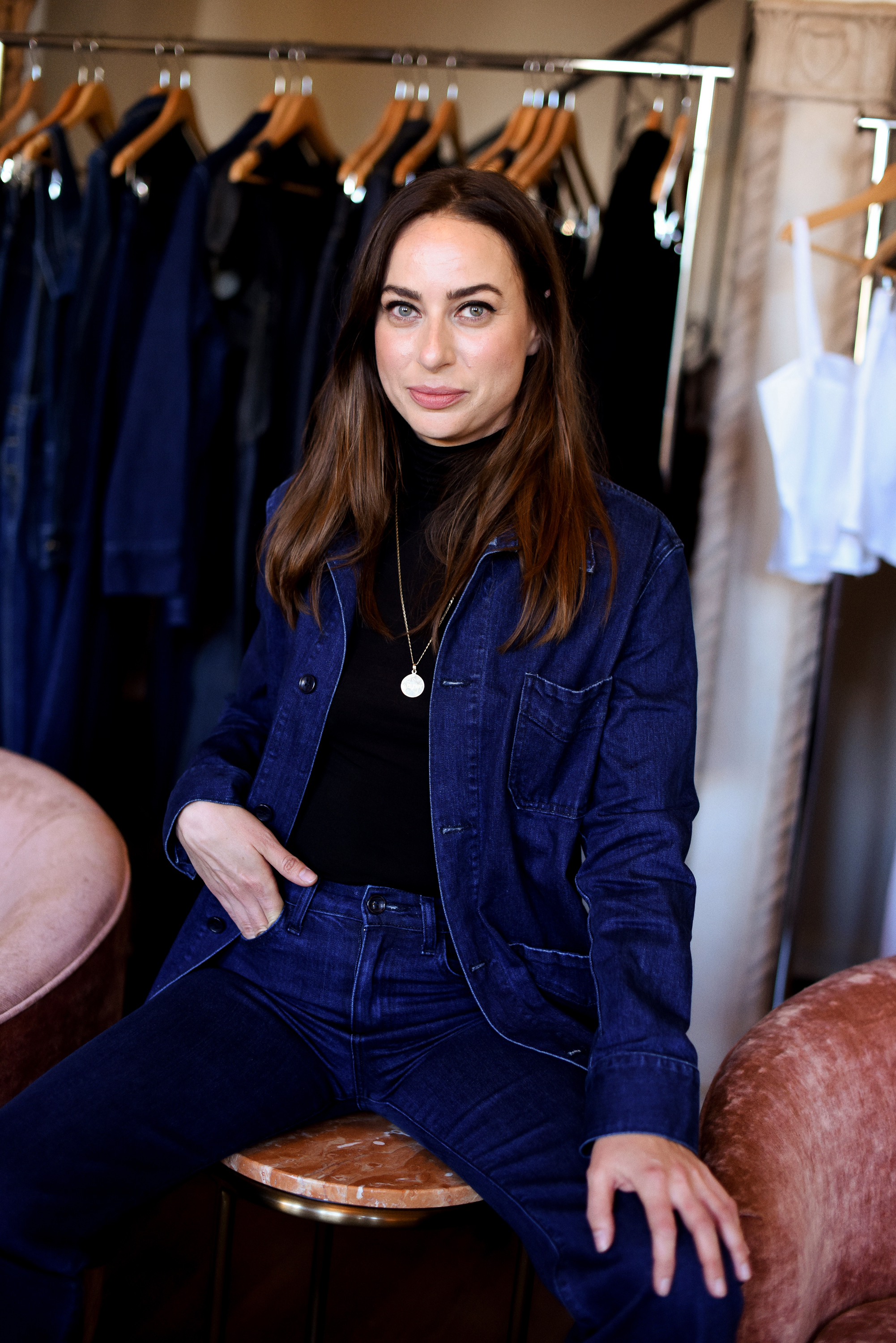 Founder Adelaide Bourbon in L ee Jacket and Jacqueline Jean Manhattan wash  at Eve Denim x Gia Coppola Event