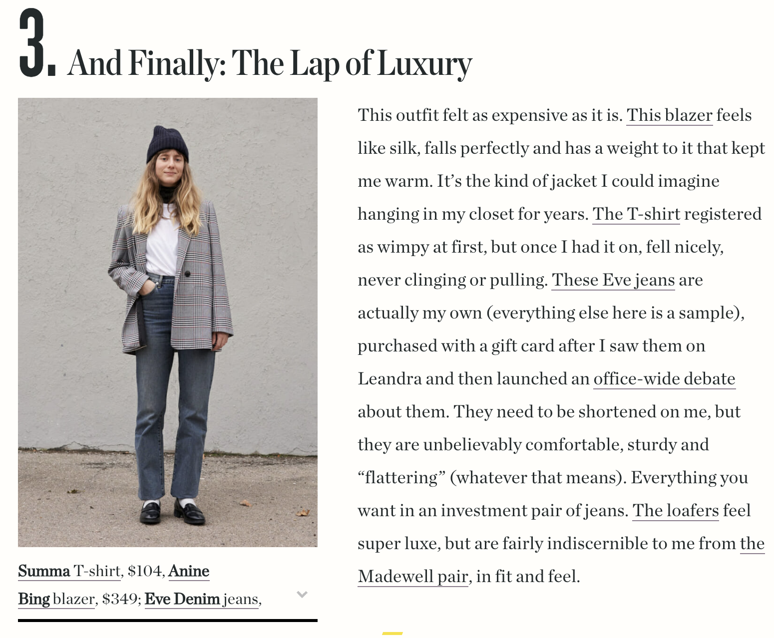 Man Repeller:   I Pitted Luxury Basics Against Their Budget Counterparts    with Juliette Jean in Soho Wash