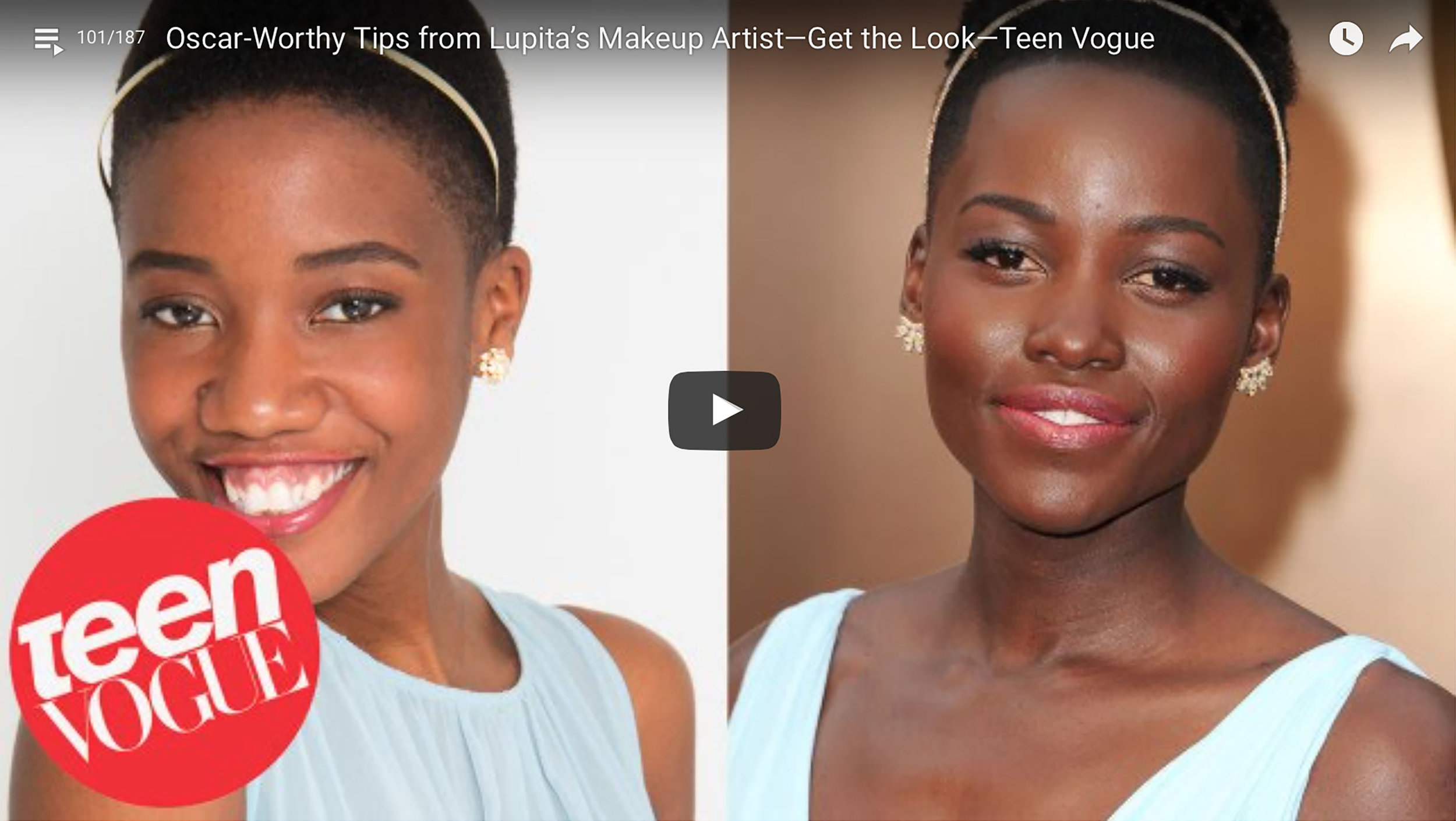 Teen Vogue: Oscar Worthy Tips from Makeup Artist Nick Barose (2014)   It was great receiving makeup tips from Nick Barose, and meeting Elaine Welteroth. Click on the image to see the full video.