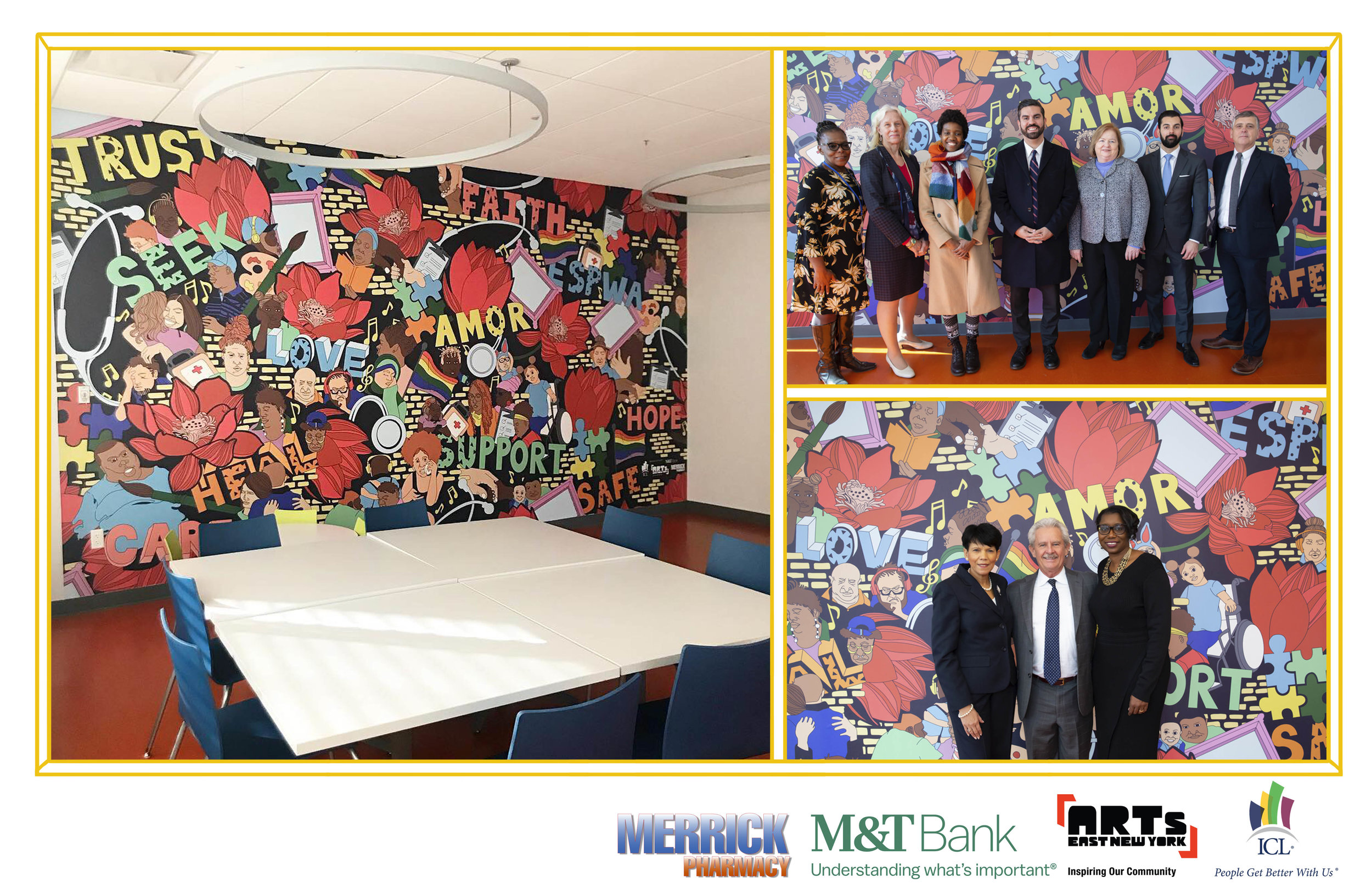 Mural located in the Family Resource Center room at the     ICL Health Club  , 90 Georgia Avenue Brooklyn, NY. Artwork design inspired by community focus group discussions. Commissioned by Arts East New York and   ICL     (Oct. 2018 - Present)