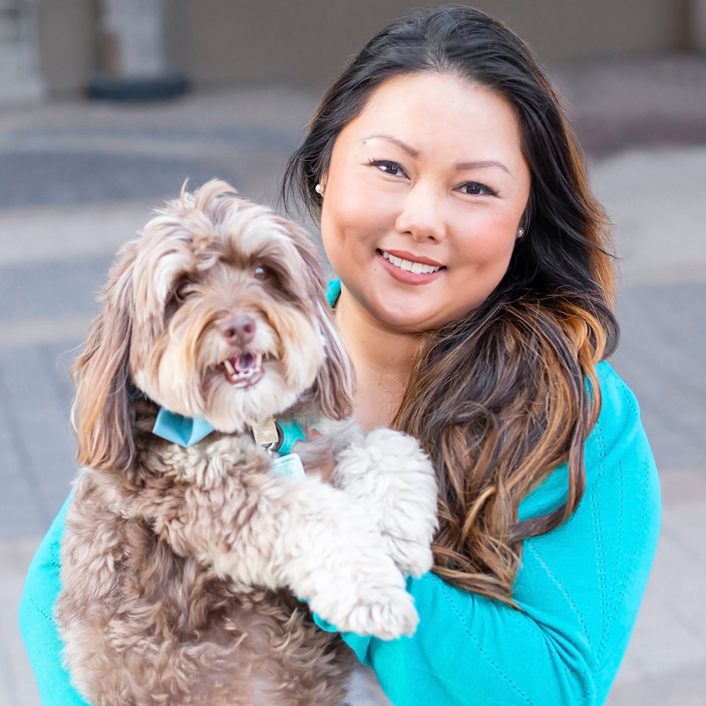 Helga AuYeung - OwnerBetter known as Auntie Helga to her Liberty Pooch family, Helga is an avid dessert lover and the heart and soul of Liberty Pooch. After spending a decade in the technology sector managing a team of 30 people across Canada, Helga saw first hand how many working professionals struggled to balance pet parenthood with work. So she channeled her love of dogs into a new career path, which she walks daily with a pack of pups always close at her heels!