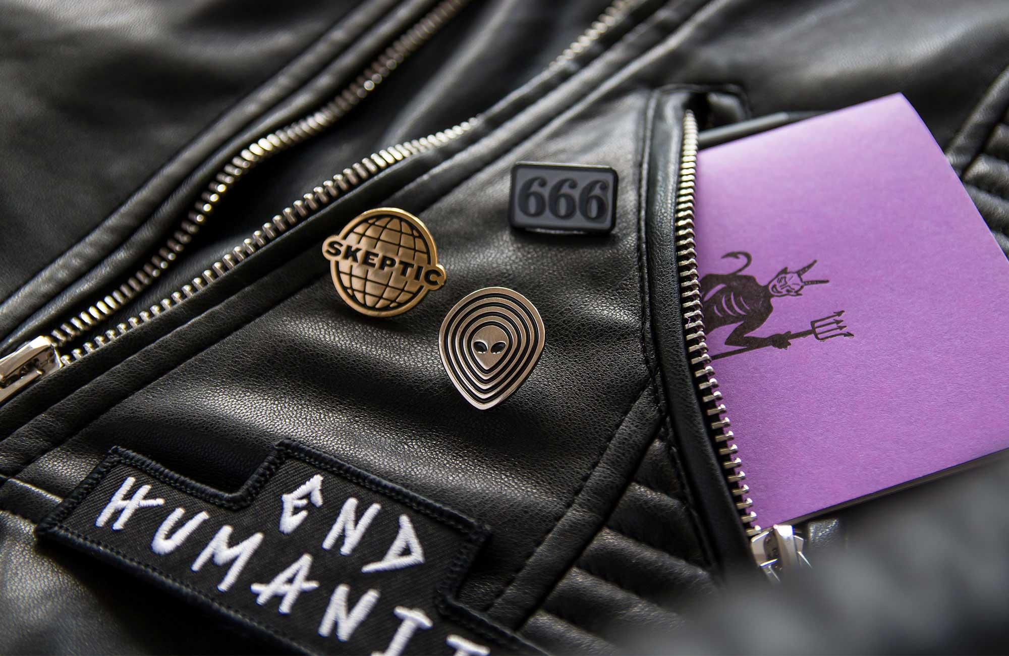 Dark occult enamel lapel pins