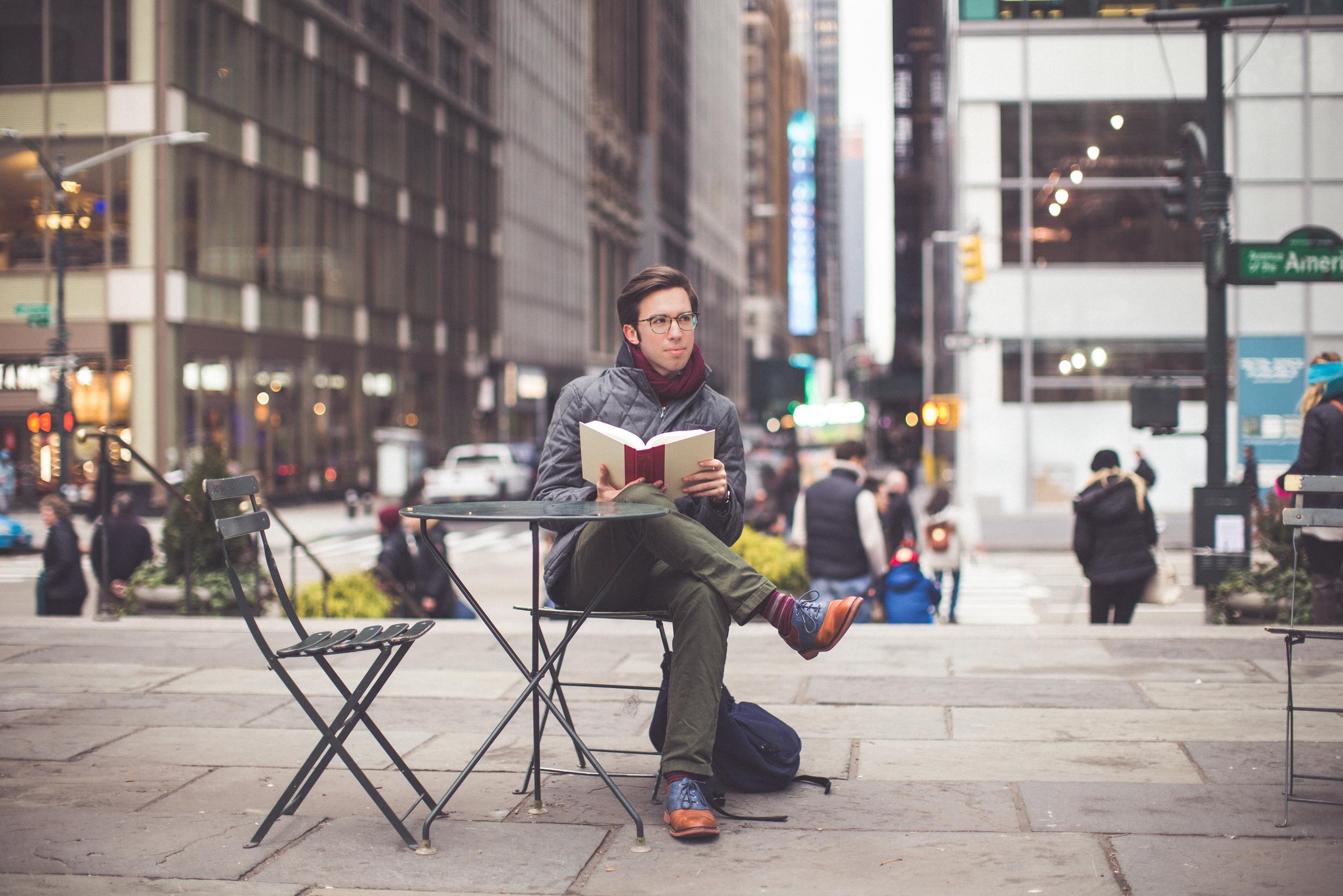 Jacket: He by Mango    Pants: Life After Denim    Shoes: Cole Haan    Socks: Richer/Poorer    Scarf: H&M    Glasses: Warby Parker    Backpack: Everlane