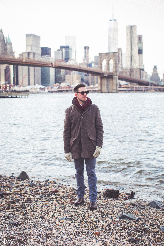 Sunglasses: Warby Parker | Scarf: H&M | Coat: London Fog | Pants: Billy Reid | Boots: Jack Erwin Photo by: Noah Williams