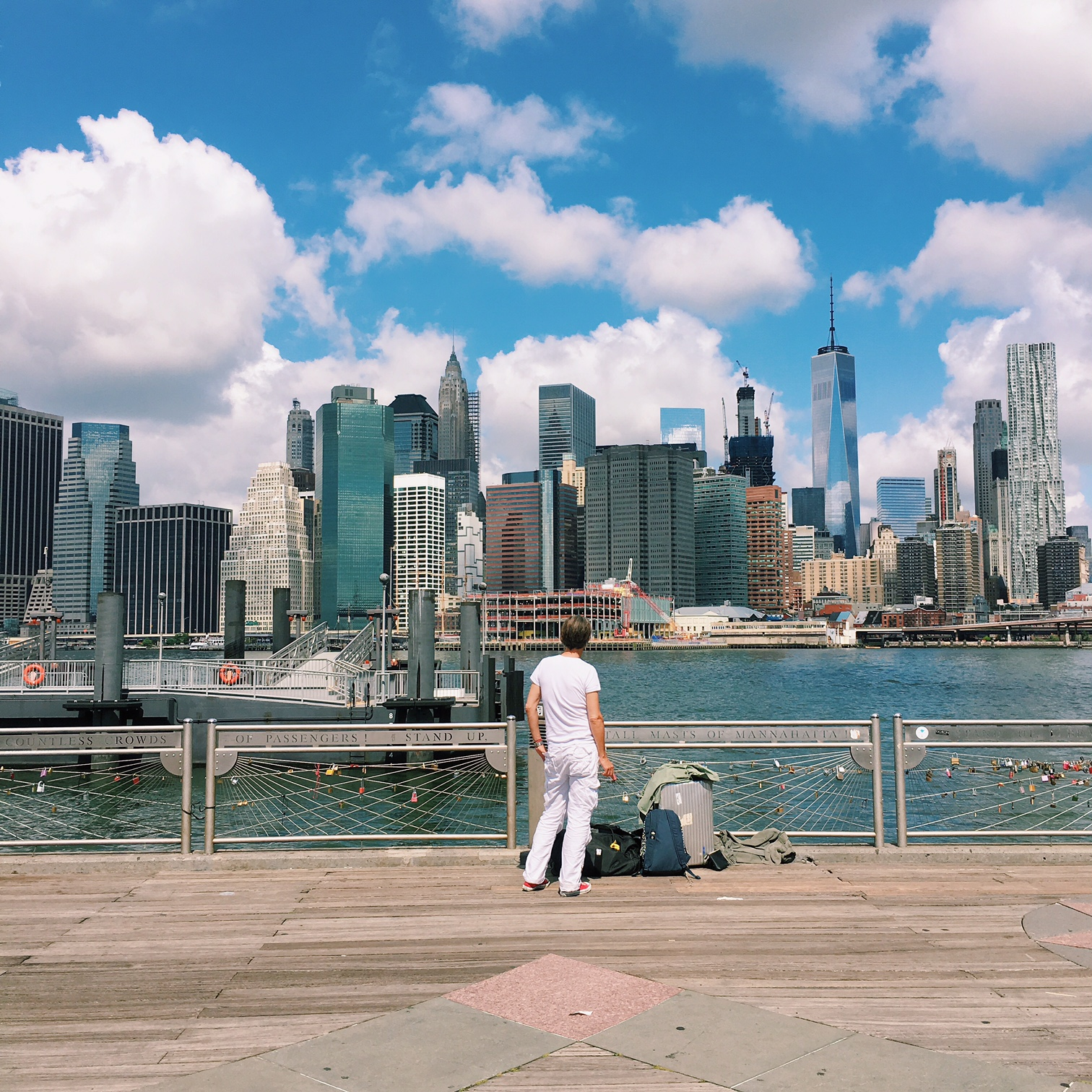 Or, you get views of the cityscape like this. (Head to Brooklyn Bridge Park!)