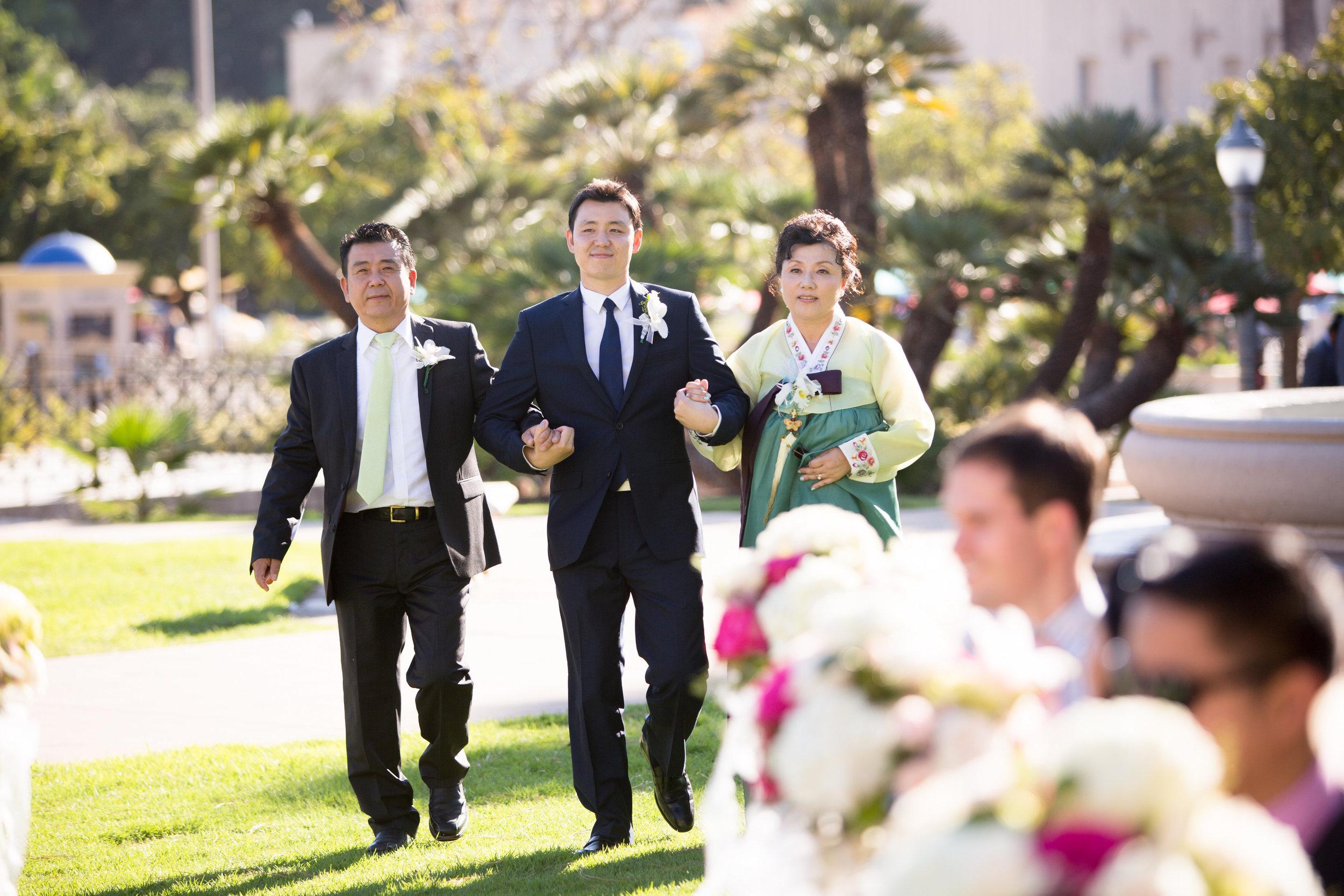 John escorts his parents