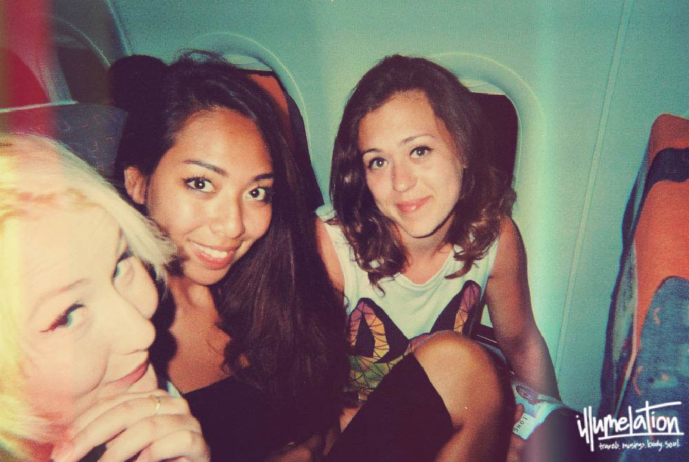 Girls on plane to London.