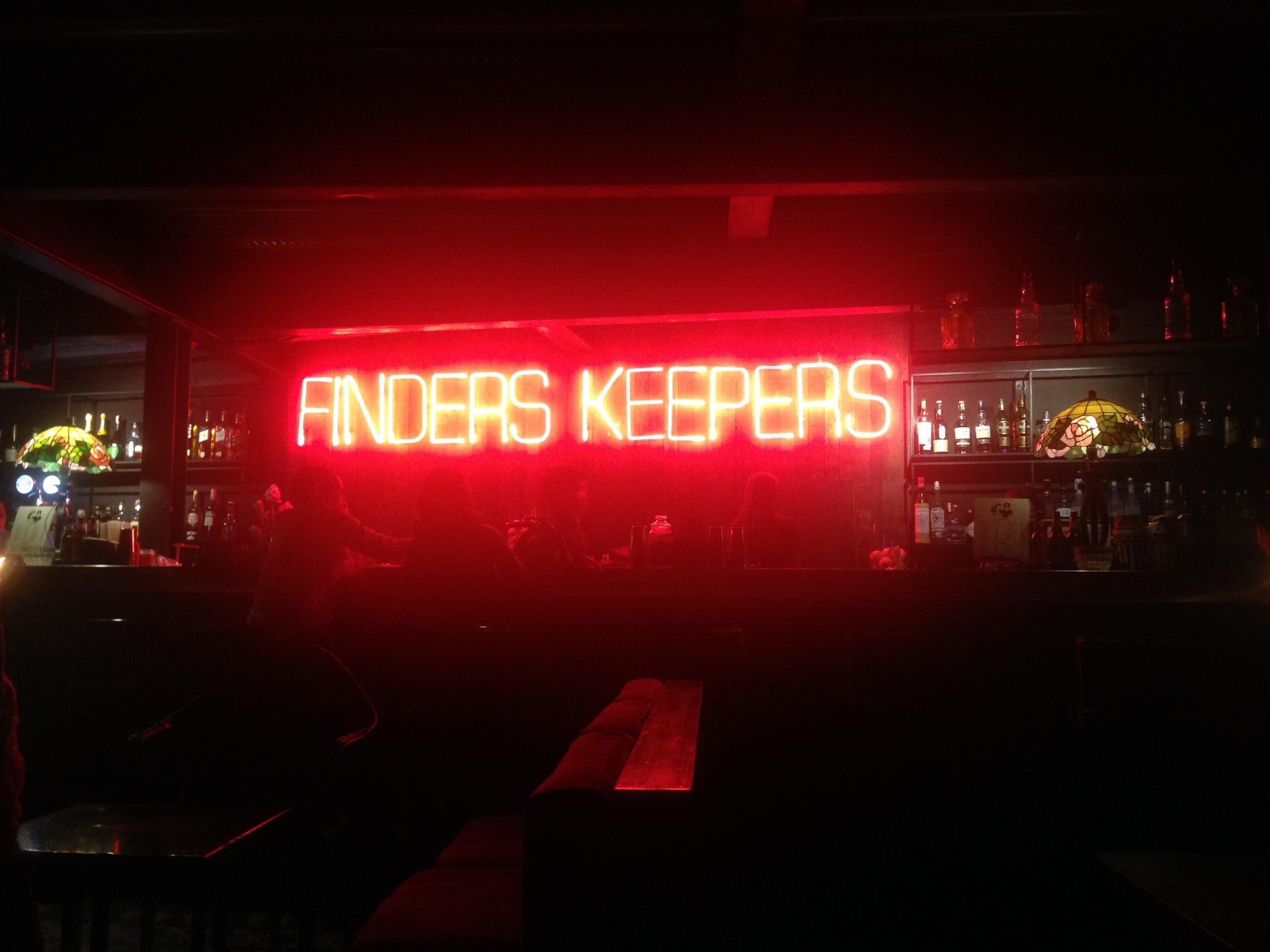 Finders Keepers bar Manila Sabio. Black market. Neon sign. 2015.