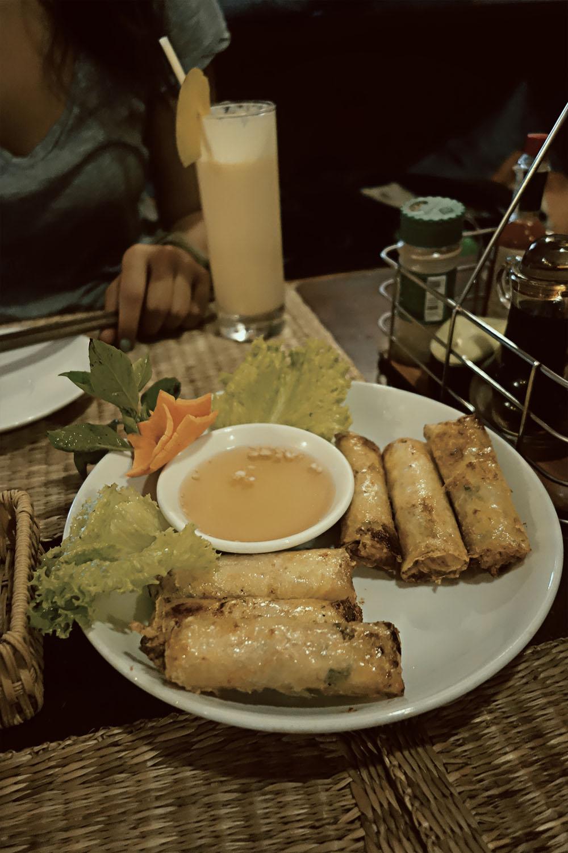 越南萨帕乐壁虎餐厅的春卷