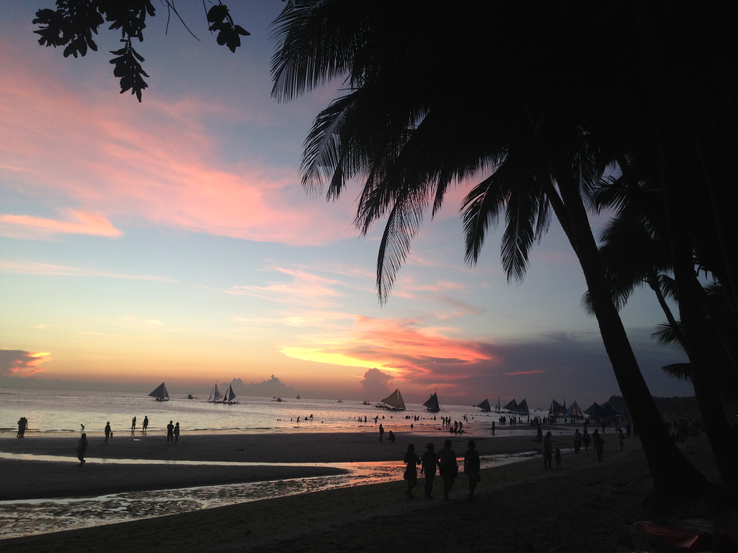 Philippines - Boracay Sunset, Palm Trees, Pastel Colours, Shoreline, Yachts