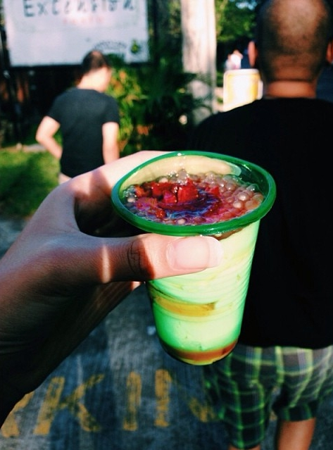 Fresh strawberry taho in Baguio, Benguet Province - Luzon, Philippines