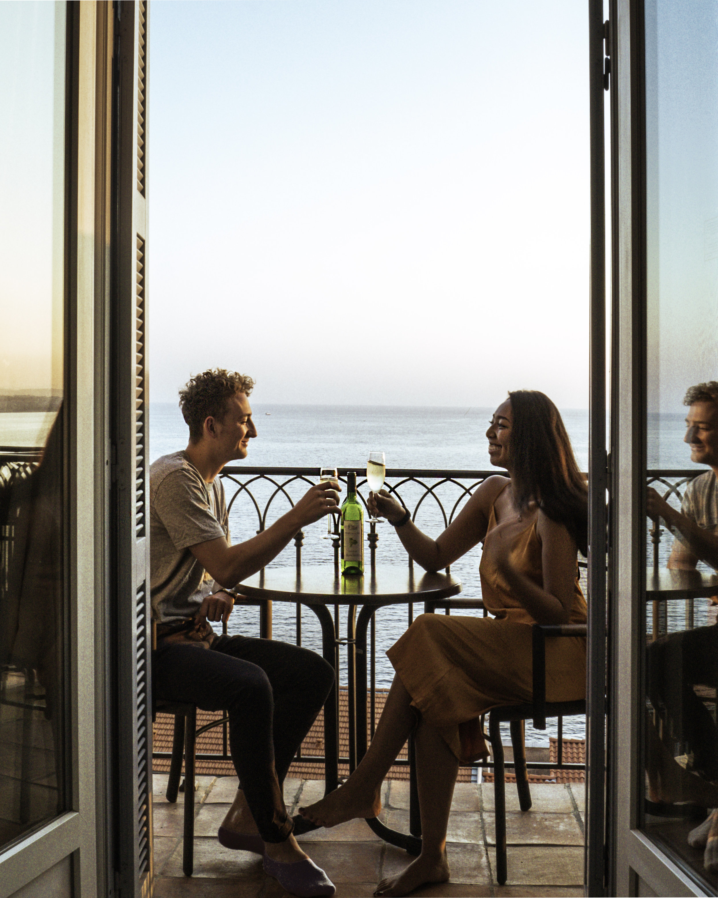 Couples wine situation on the Balcony - Hotel La Perouse - Superior Full Sea View - Nice, France - illumelation.jpg
