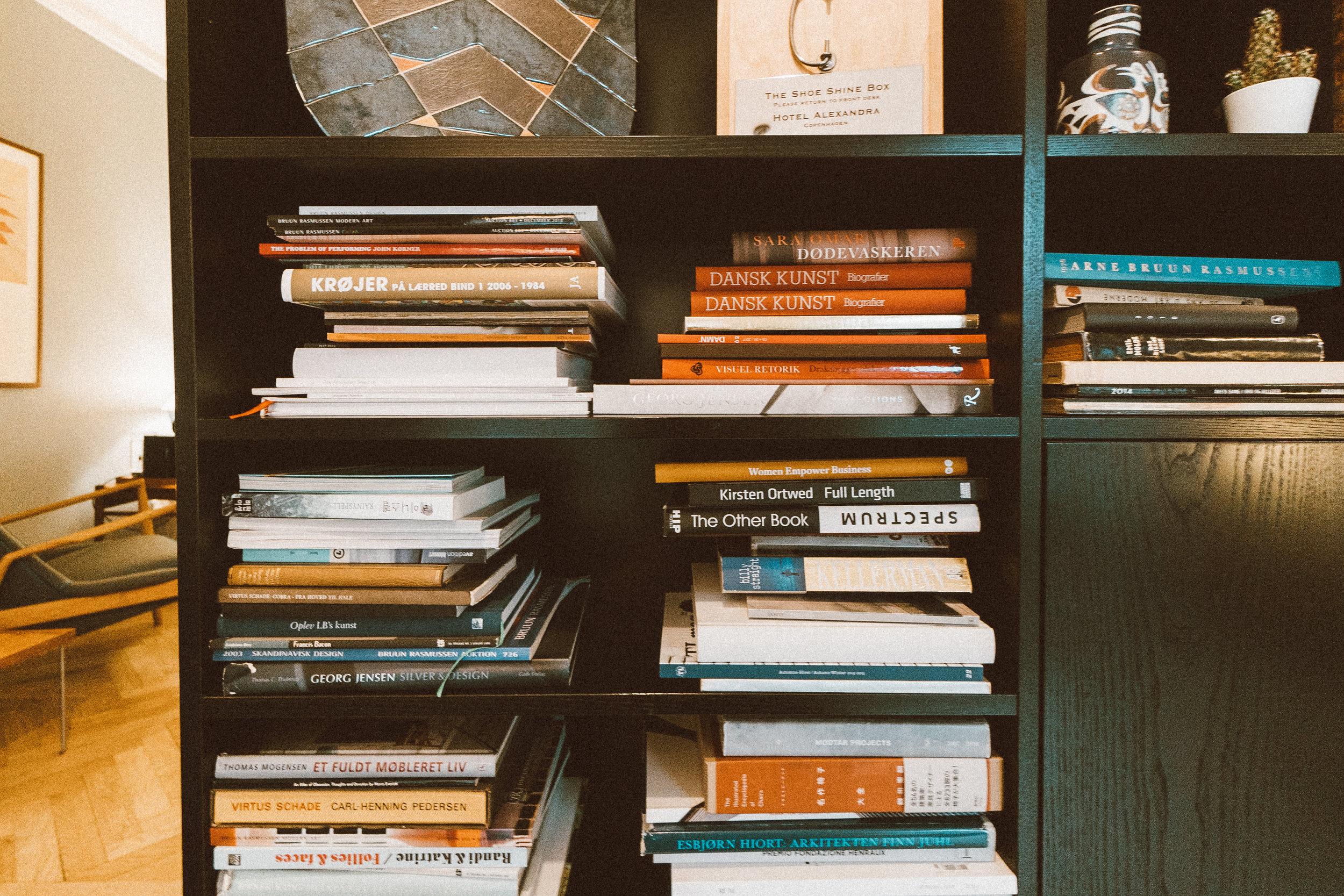 Hotel Alexandra Copenhagen Review - Lobby Communal Reception Bookshelves