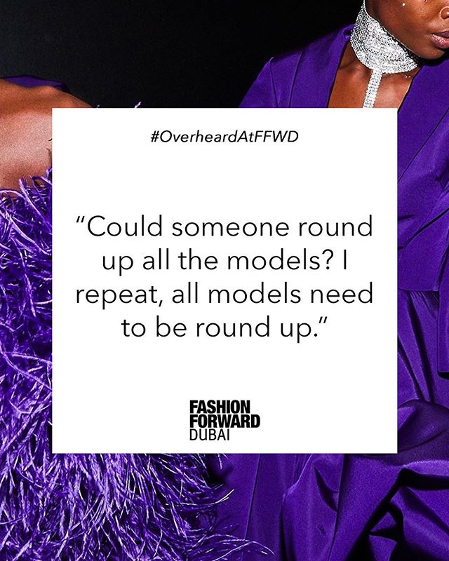 It bears repeating: all models need to be round up! 📢 #OverheardAtFFWD