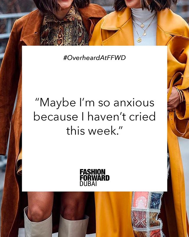 Or maybe it's just Fashion Week 🤔 #OverheardAtFFWD