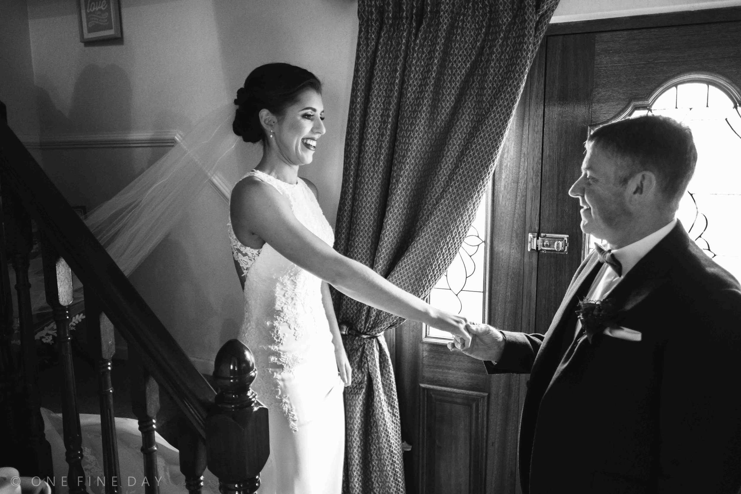Father and Bride natural relaxed wedding photograph