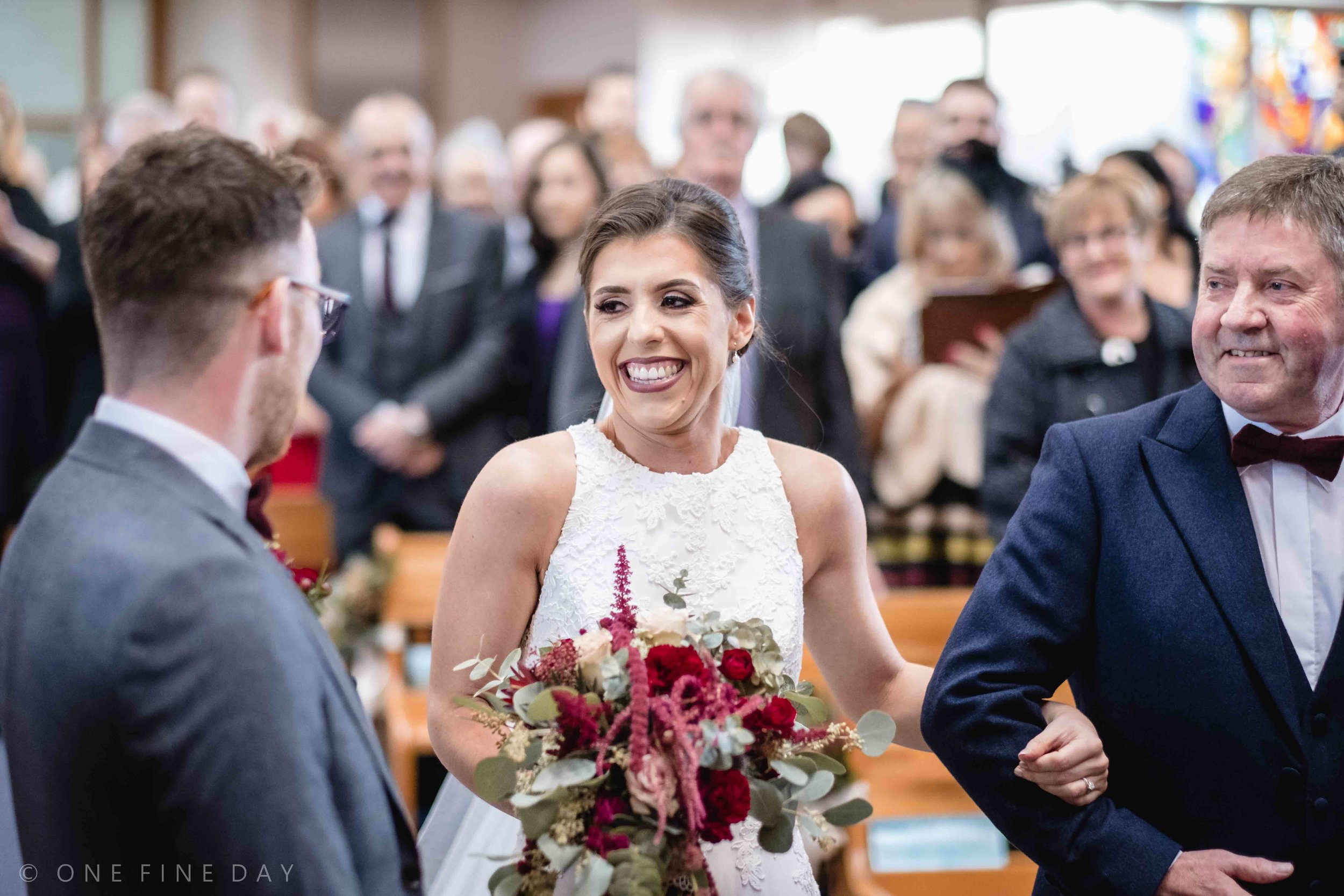 Bride sees groom for first time at wedding ceremony