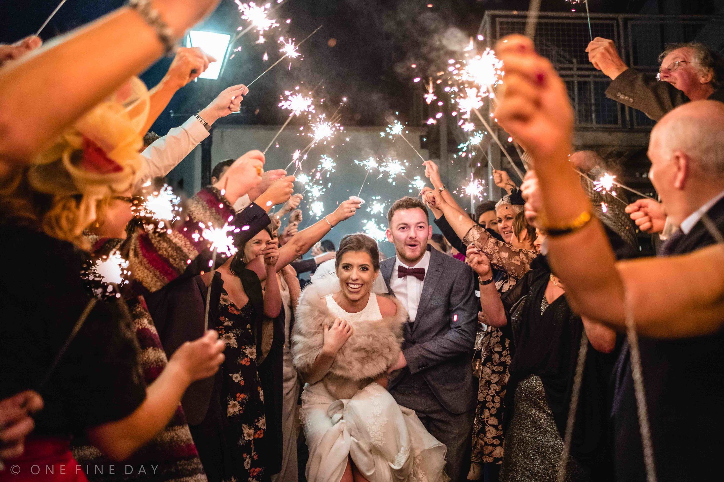 Wedding Image of Sparklers at Ballygally castle Northern Ireland