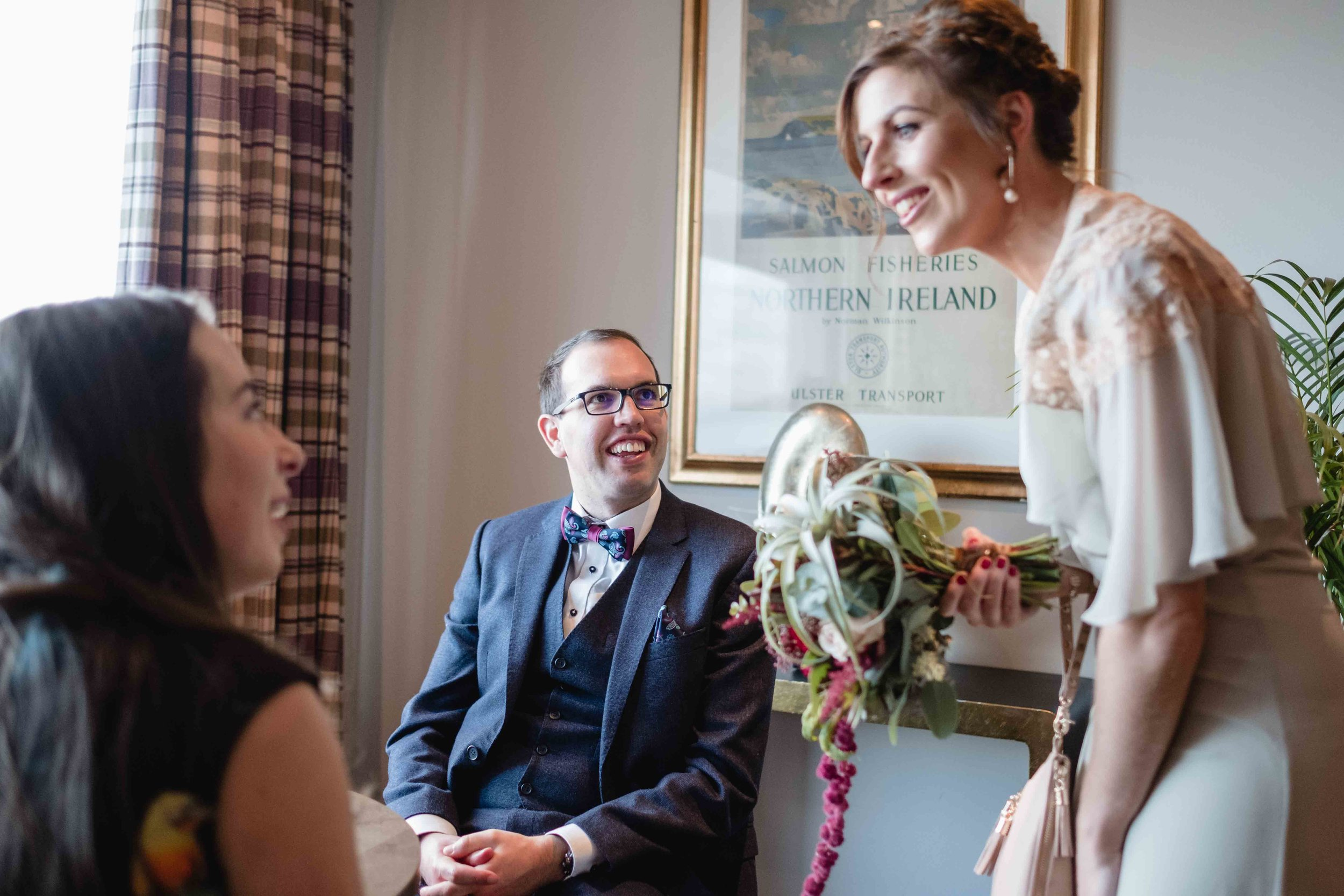 Ballygally castle wedding guests natural and relaxed