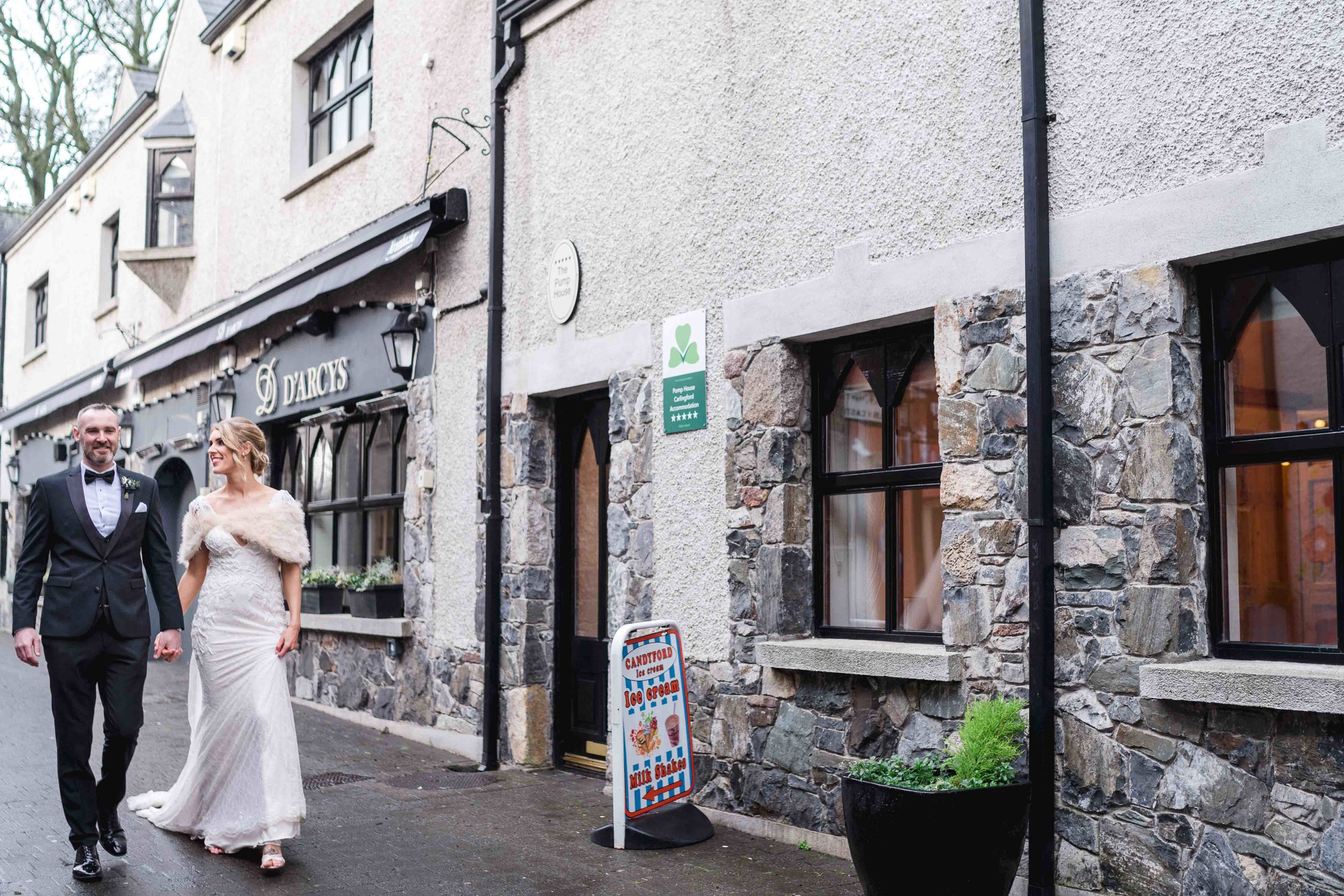 Natural wedding photograph of couple Carlingford, Ireland