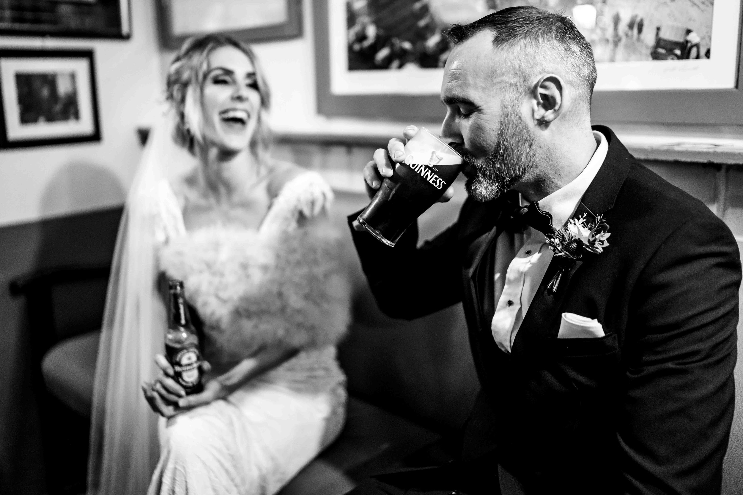 Natural wedding photograph of couple at PJ O Hares Pub Carlingford, Ireland