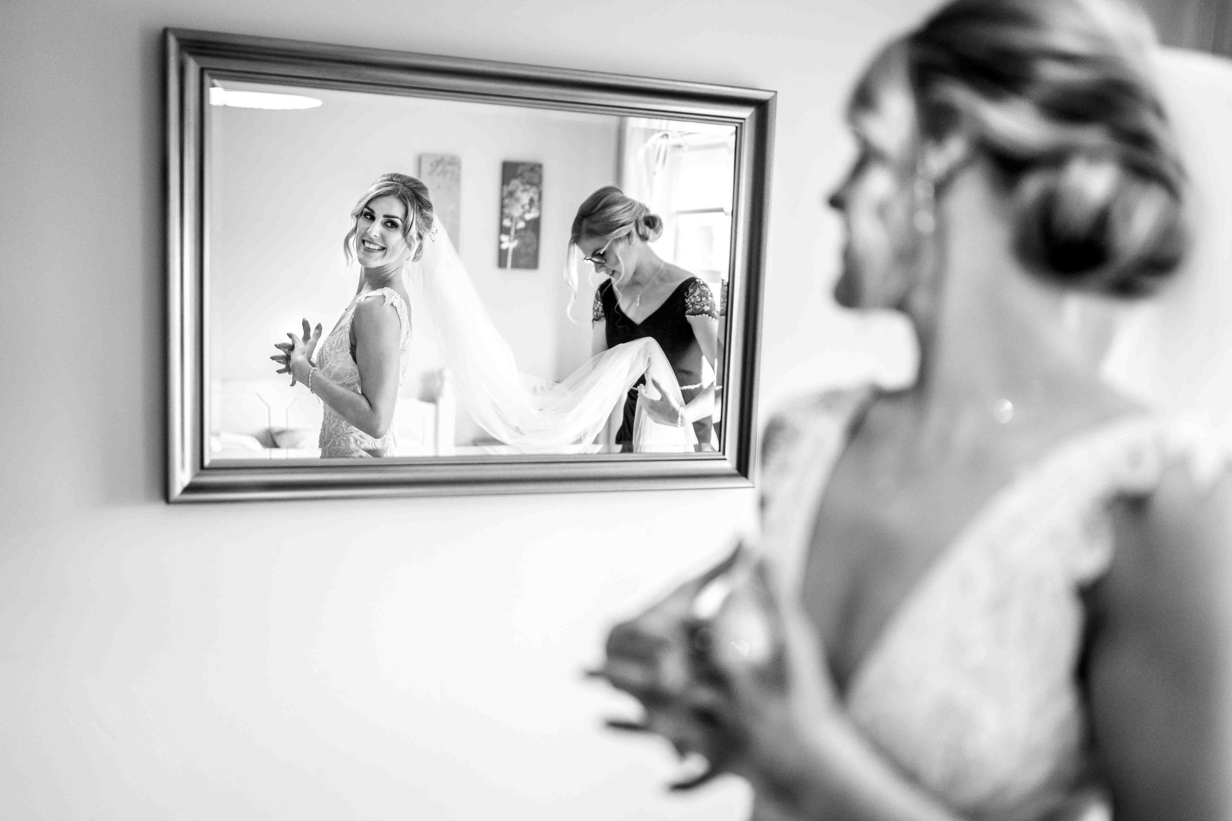Natural and Relaxed photograph of the bride on her wedding morning