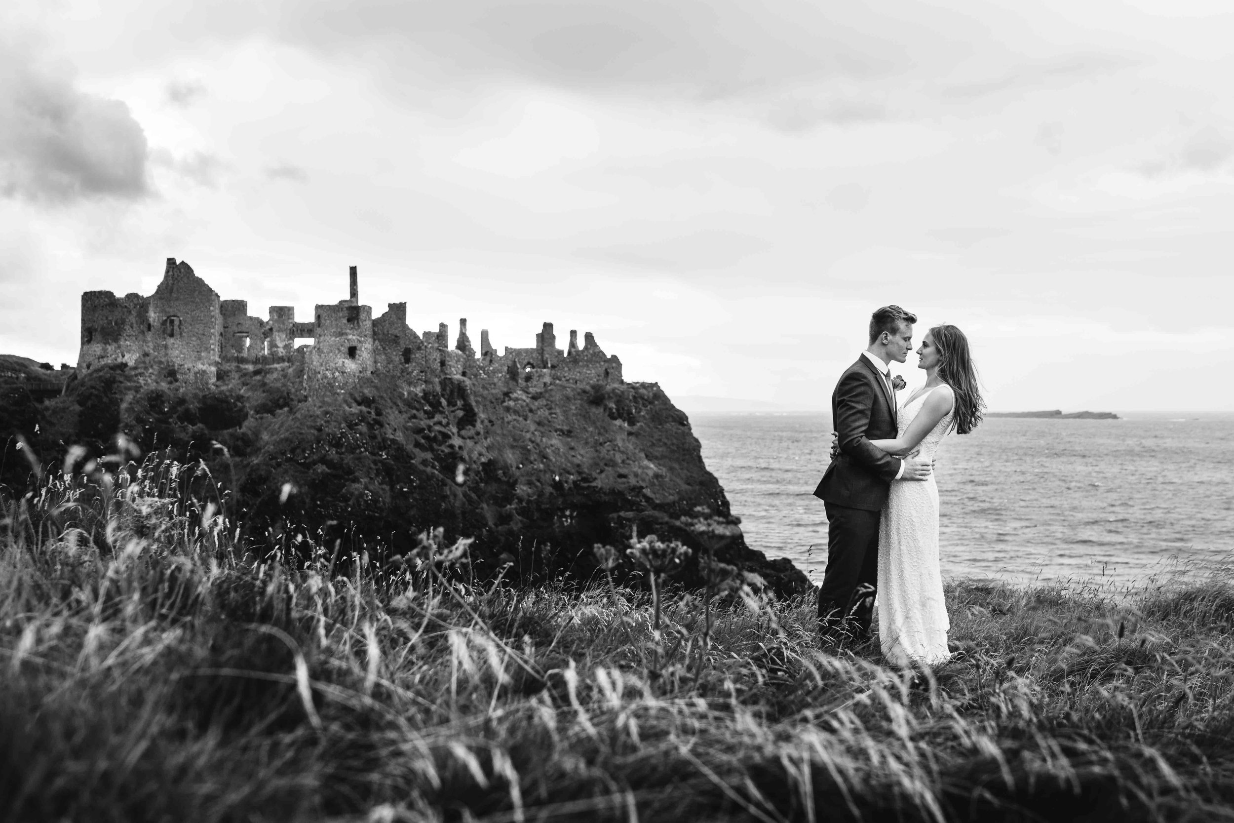 Natural and relaxed wedding photograph at Dunluce Castle Northern Ireland