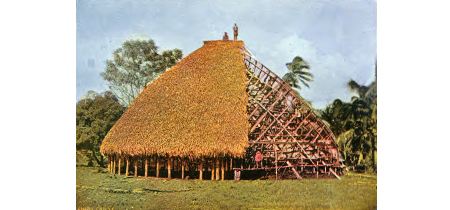 Figure 1   - A photograph of a traditional    fale tele    under construction. Thomas Andrew 1896. Museum of New Zealand, Te Papa Tongarewa.