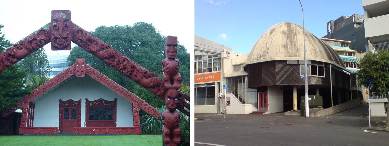 Figure 7  (Left) - Mercep's Waipapa Marae at Auckland University.    Figure 8  (Right) - Mercep's Samoa House on Beresford Street in Auckland.