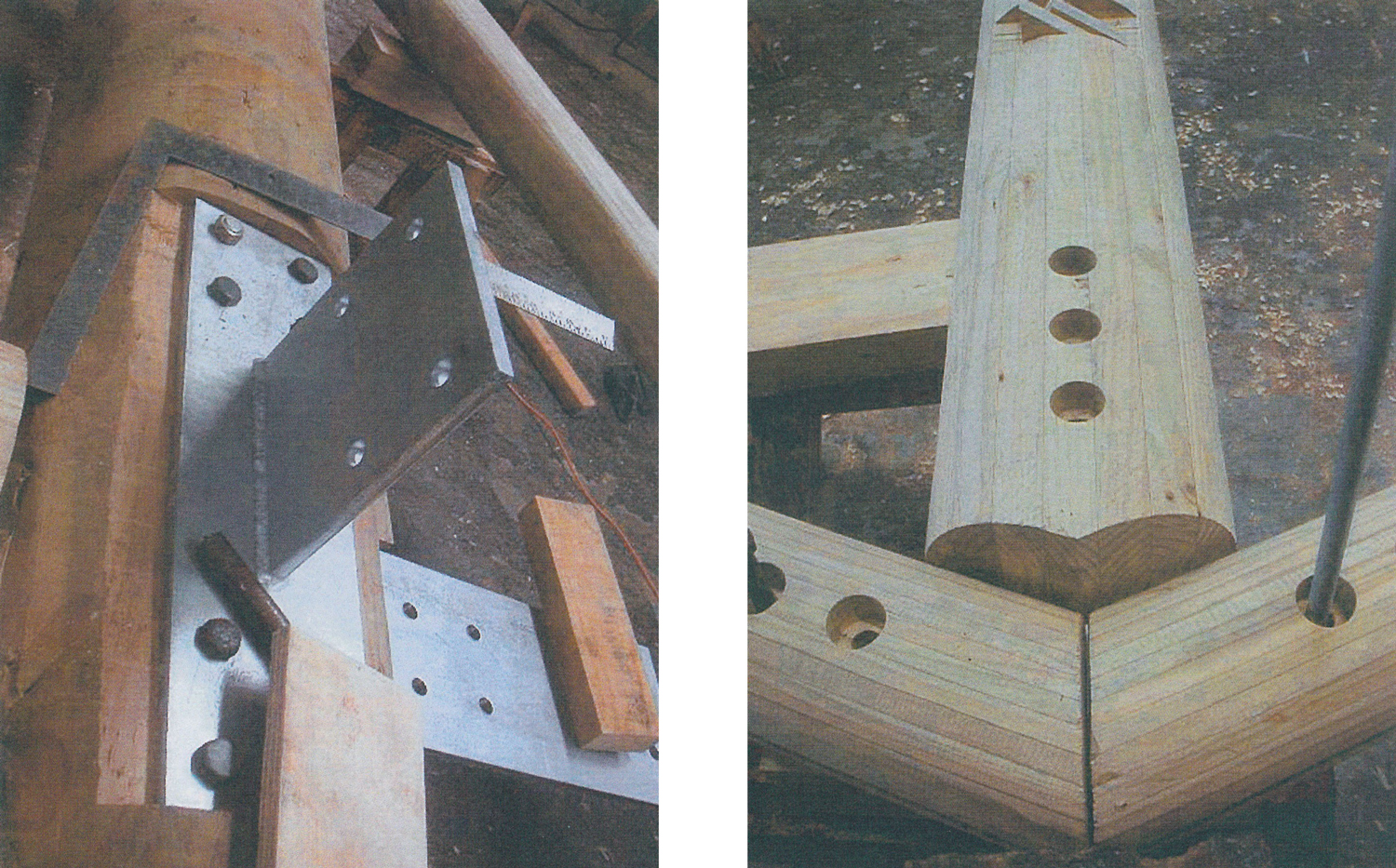 Figures 11 & 12  -Construction images of the metal gussets joining laminated timber members.