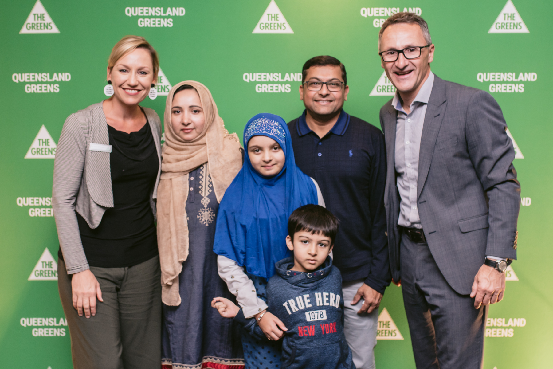 Senators Larissa Waters and Richar Di Natale with attendees of the Community Iftar Dinner thrown by the Australian Greens in May, 2019.
