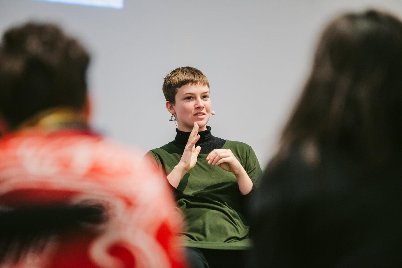 Amanda Haworth at episode 10 (Amy Learmonth) of Workaround, RMIT Design Hub, 2018