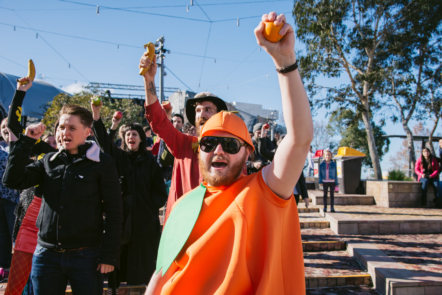 Episode 10 centred around the idea of 'Serious Play', shown by staging a protest of the then in-development Apple Store in Federation Square.