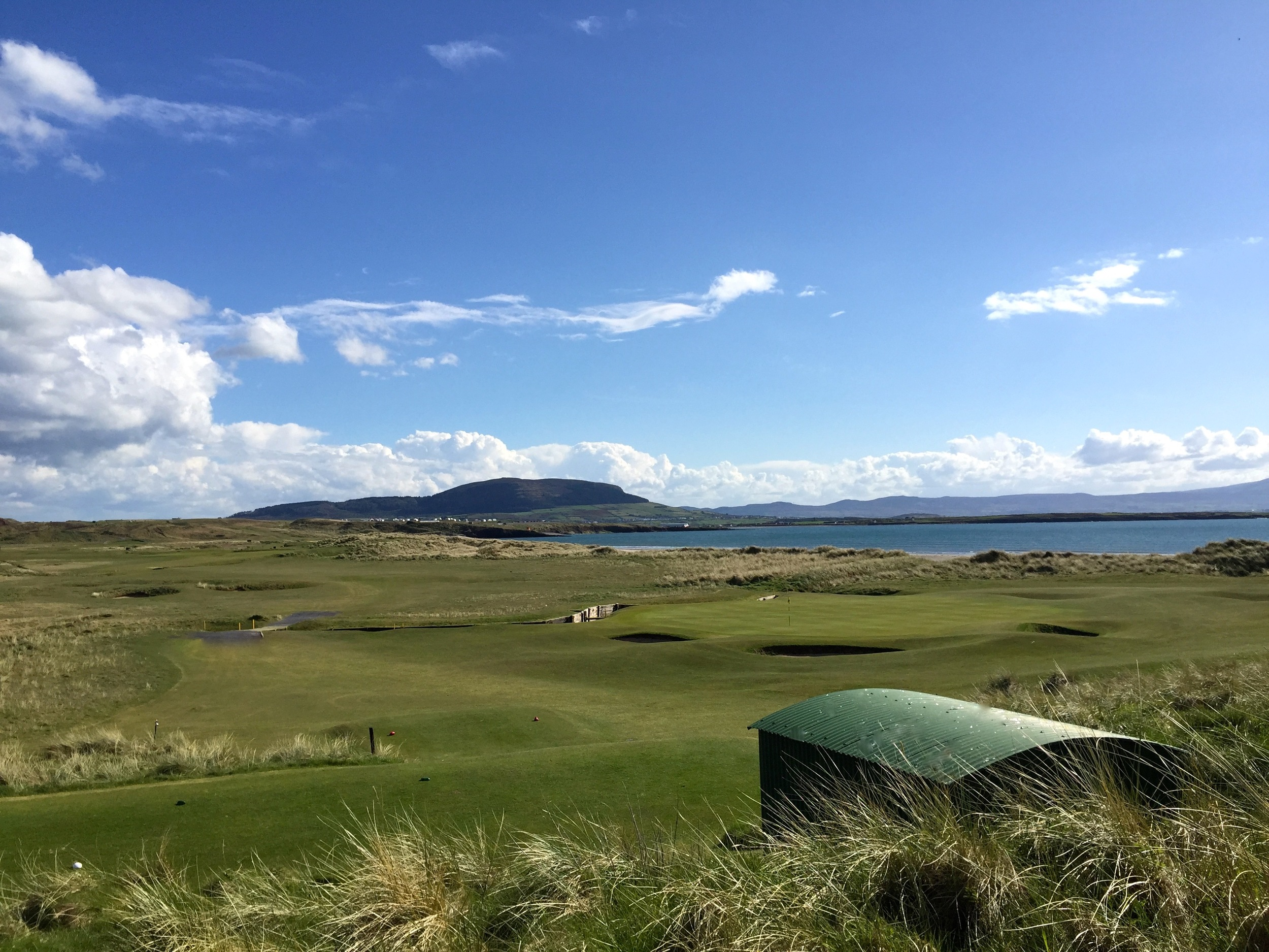 13th Green and 14th Hole with Knocknarea in the background