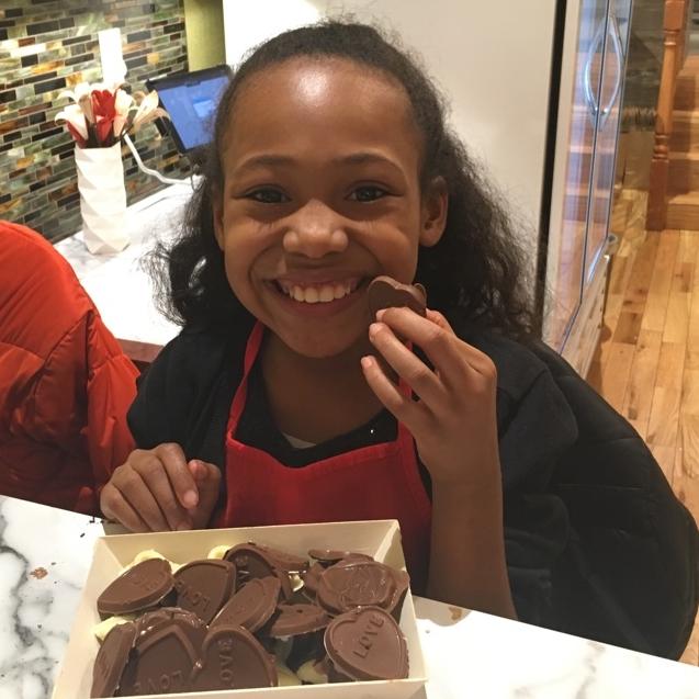 One happy, chocolate-loving girl.