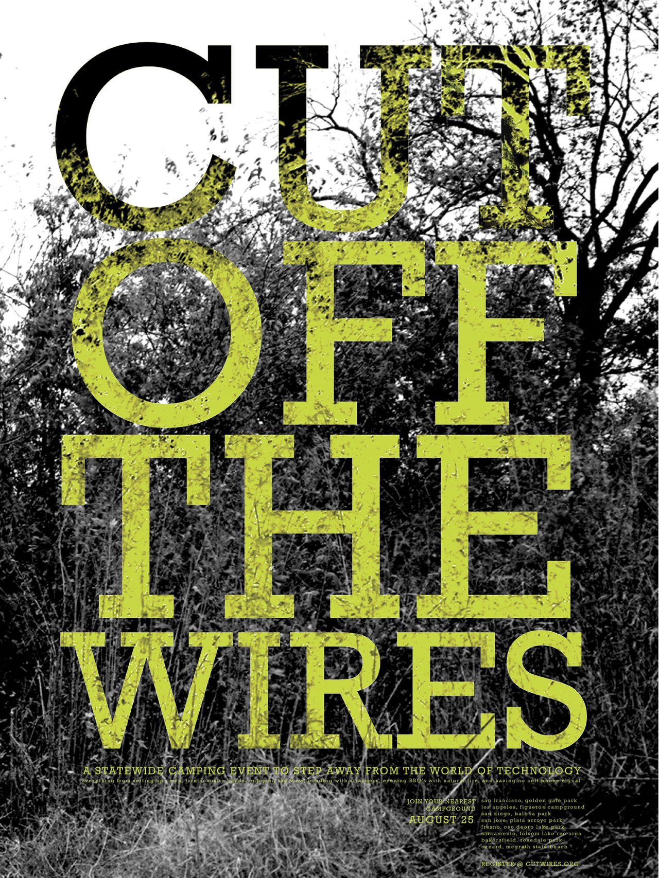 CUT OFF THE WIRES   A poster for a hypothetical summer campout festival in California featuring music, art, food, and education.