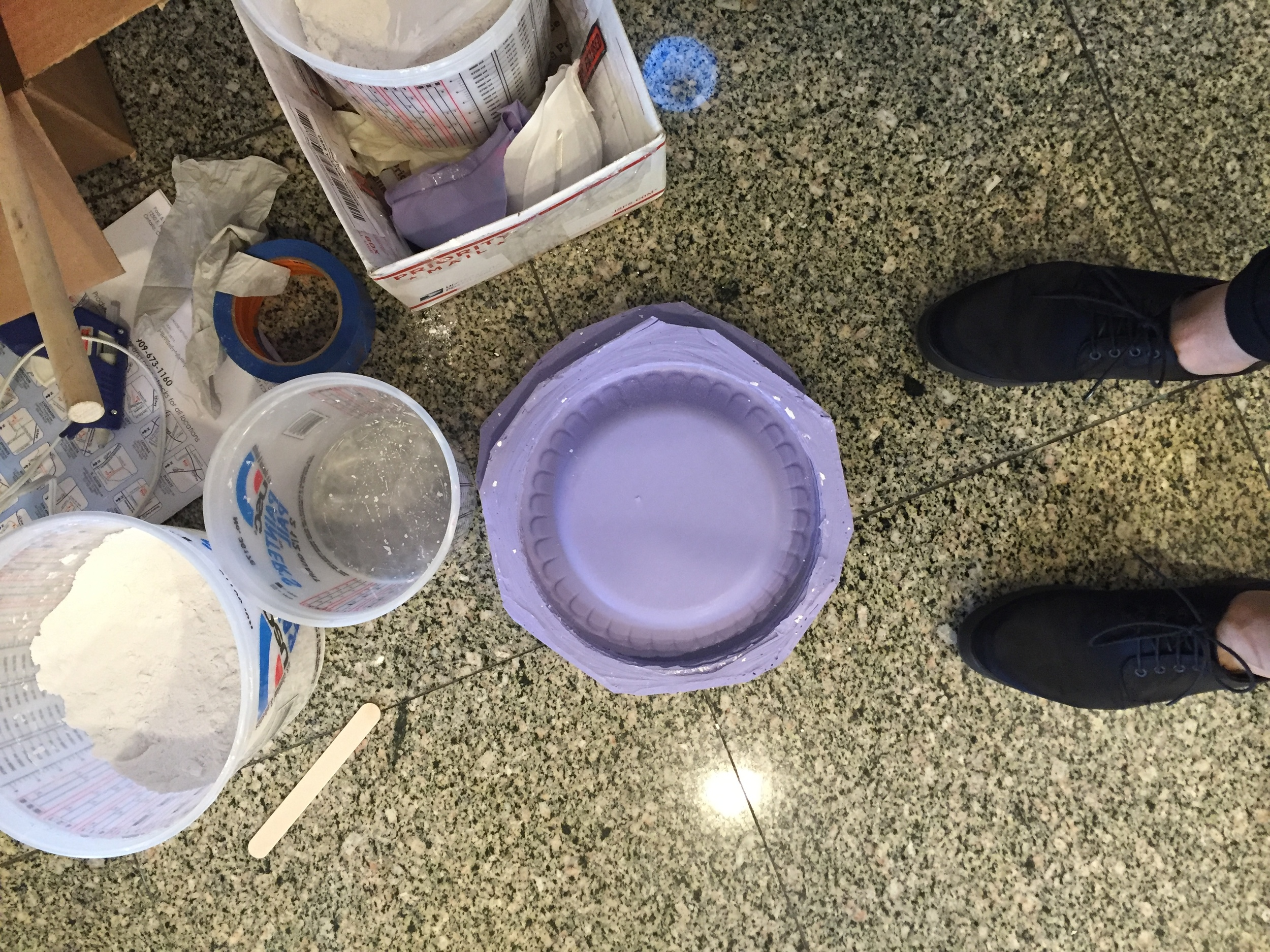 A silicone mold of a stack of paper plates in the making...