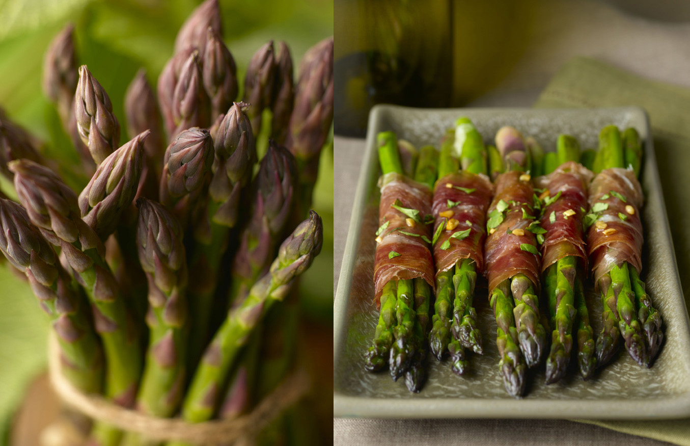 asparagus,  prosciutto,  pine nuts,  parsley,  green,  twine,  savory