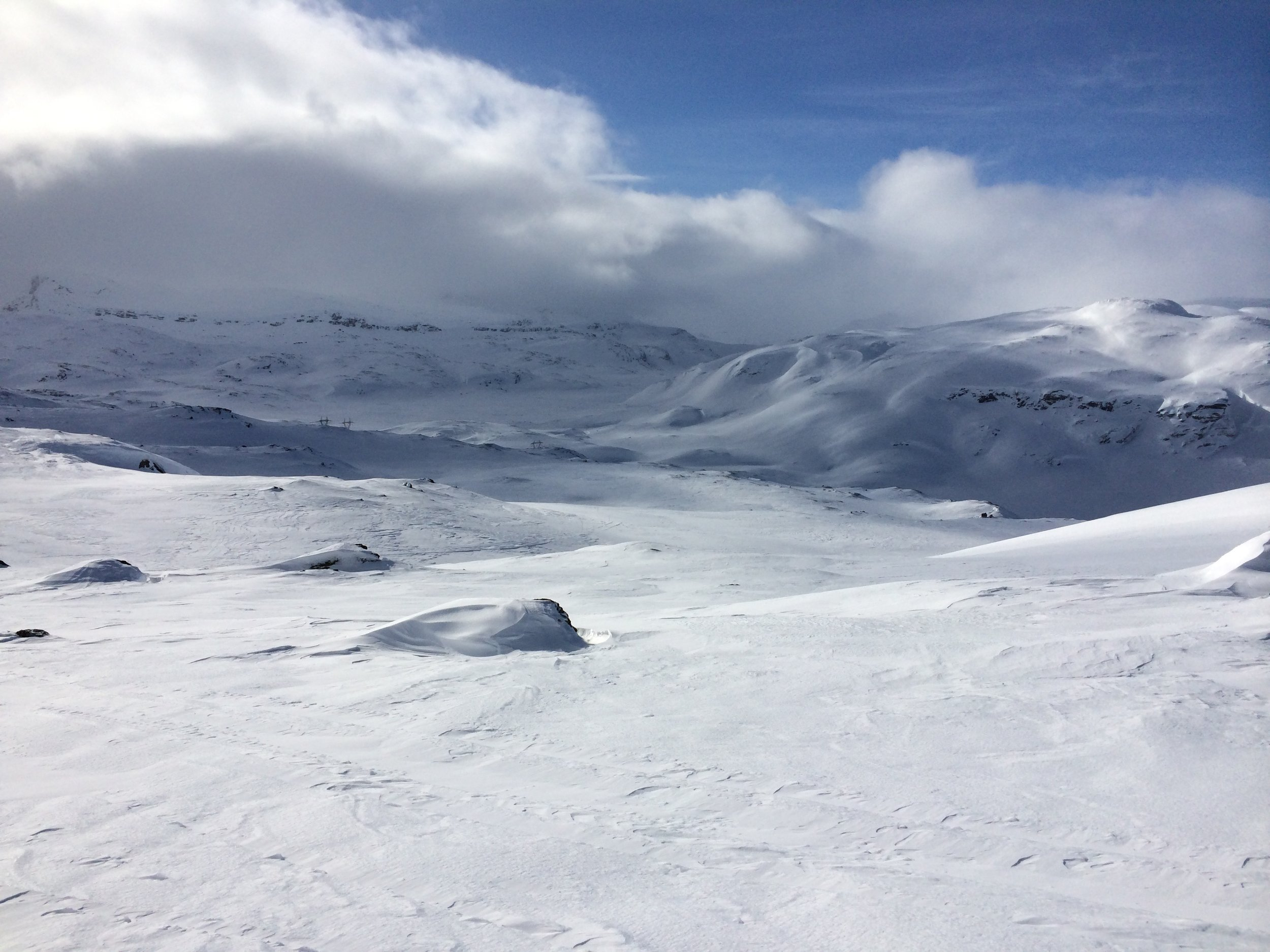 Bluebird sky, sheetwhite snow -   the hills of Hardangervidda