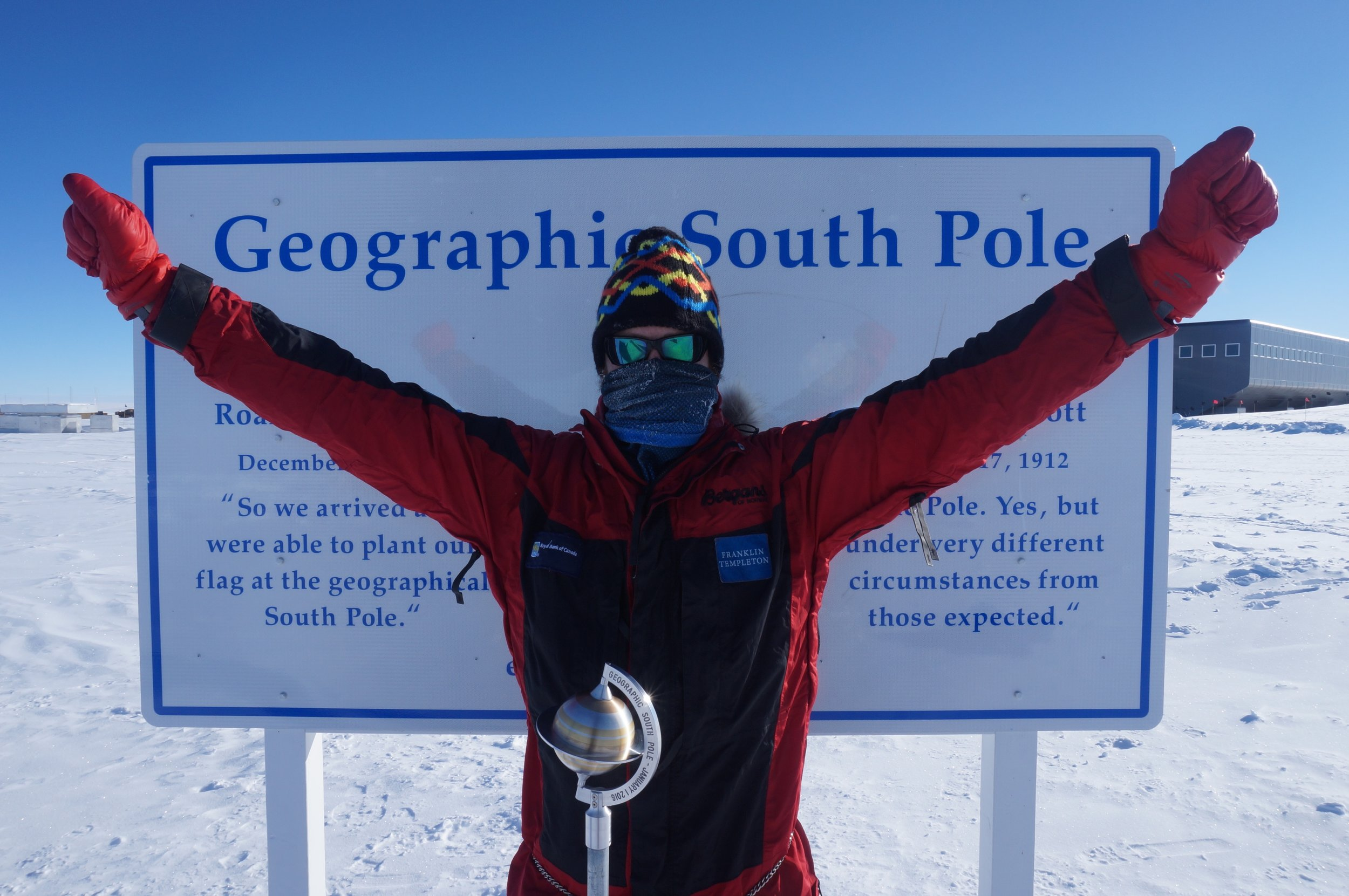 Due South: Antarctica   - Click here to see the Due South: Antarctica expedition info pageOn January 13th 2016, after skiing completely solo, unassisted and unsupported for 39 days and 8 hours, Luke reached the bottom of the world, the South Pole. He had just become the first Scot, the Youngest Brit and the second youngest in history to achieve this feat. When Luke arrived at 90° South, he had skied over 730 miles (1175km), for 40 consecutive days, whilst climbing from sea level to a height of 9,000ft (c.2800m). He had just successfully completed an expedition and a challenge that less than 20 people in history have achieved.