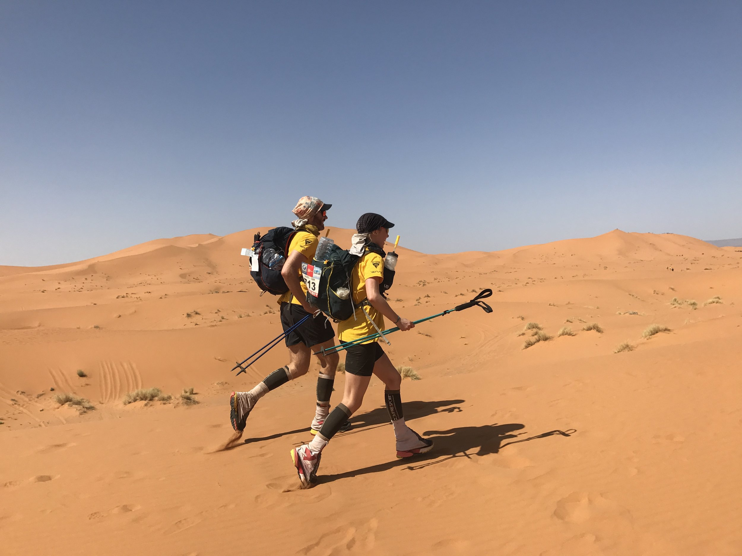 Marathon des Sables  - In 2017, Luke and Hazel took on 'the toughest footrace on the planet - the 156 mile (250km) multi-stage Marathon des Sables. In baking temperatures reaching 55°C, they raced through the Sahara desert carrying everything on their backs.In one particularly gruelling stage the couple had to cover 86.2km battling steep rocky dunes, mountain passes and sleep deprivation to reach their goal.