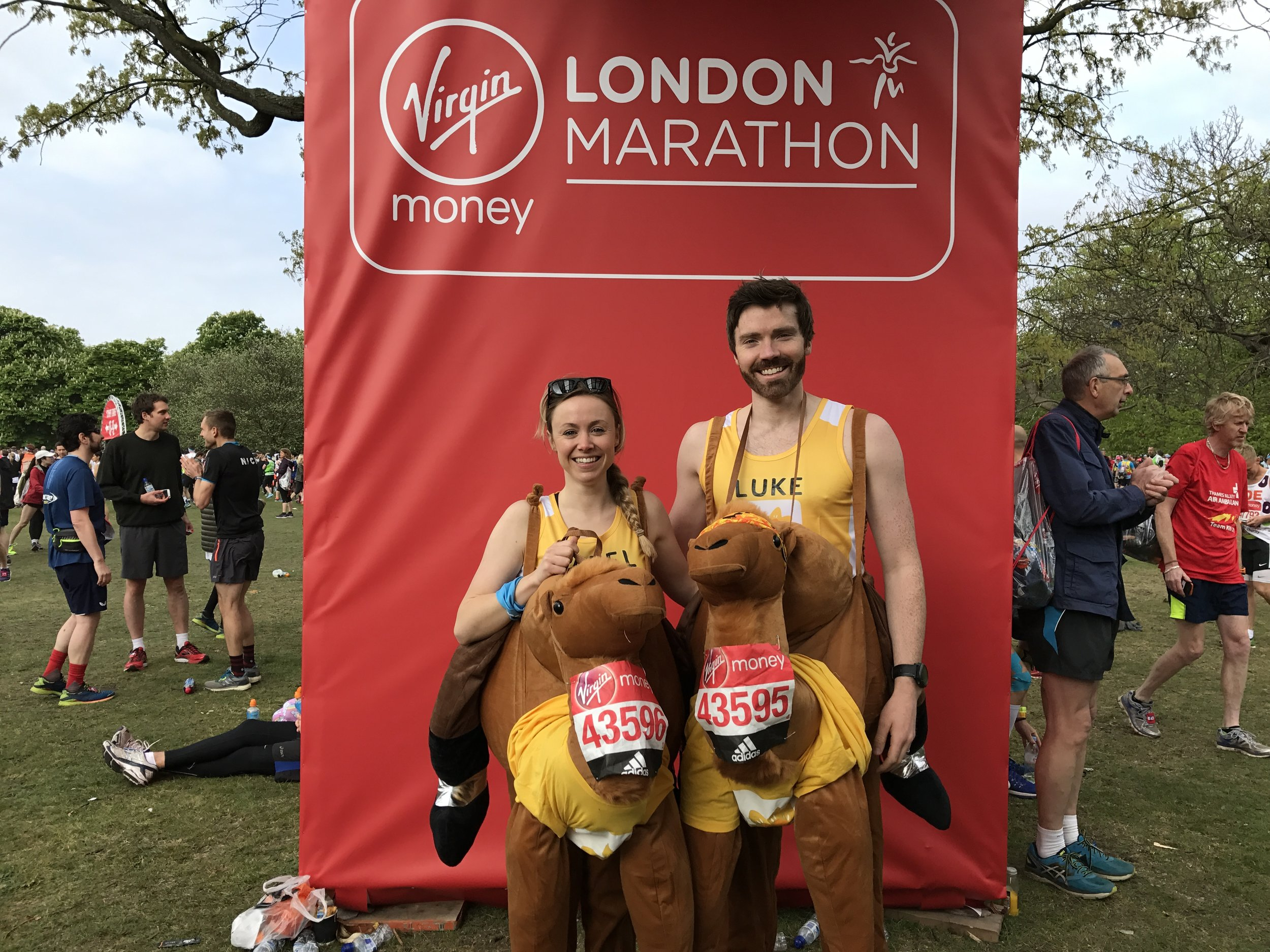 2017 London Marathon - dressed as camels... - In a nod to the Marathon des Sables which they had completed only a week prior, Hazel and Luke made the hasty decision to take on the London Marathon in camel costumes.  They would go onto get the hump at several points during the day....