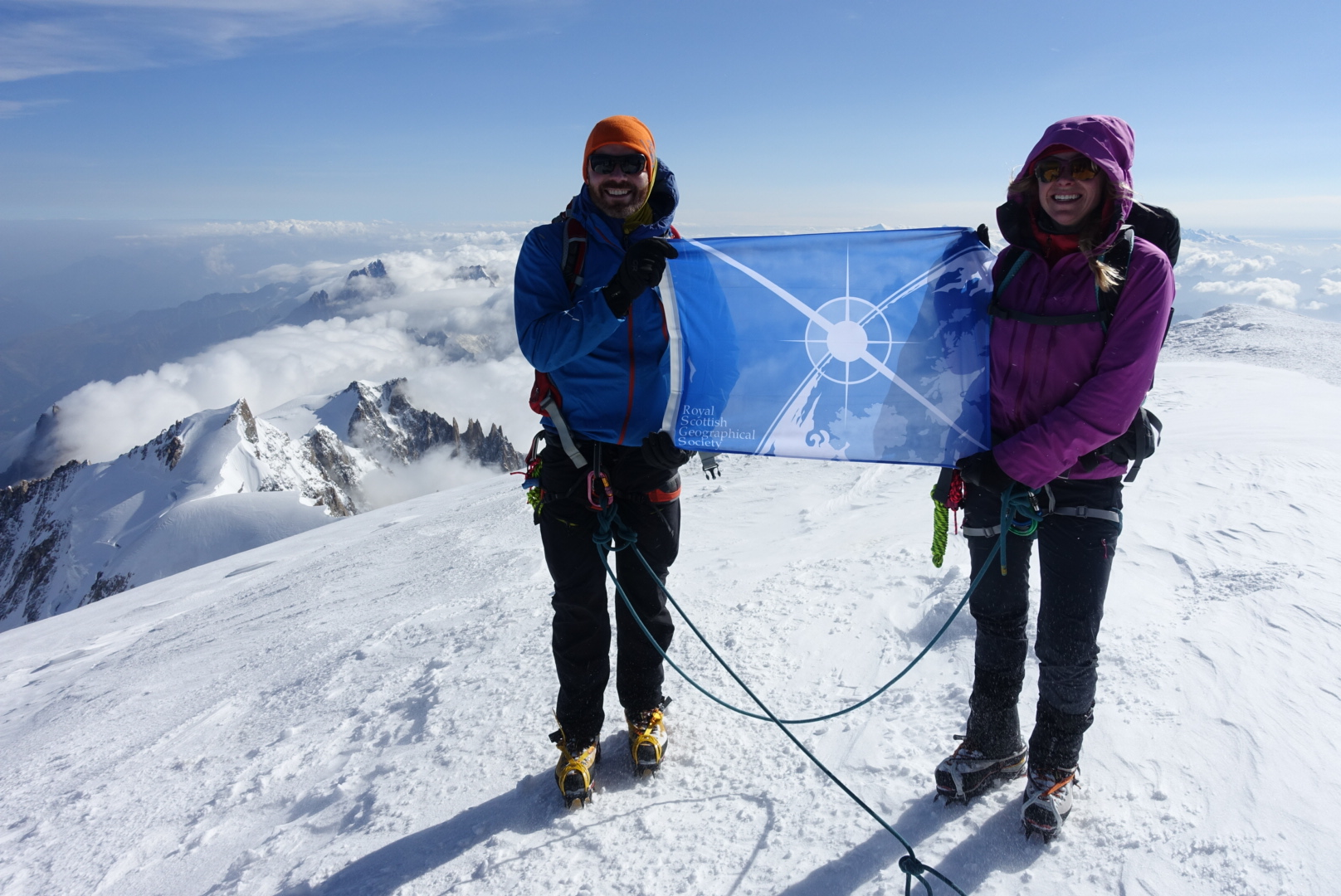 Mont Blanc and Mt Triglav  - In July 2017, Luke and Hazel successfully submitted Mont Blanc, the highest Mountain in Europe, while mountaineering in the Alps. With them to the summit they had the honour of carrying the very first Royal Scottish Geographical Society Flag.  Two years previously, together they submitted the highest peak in Slovenia, Mt Triglav.