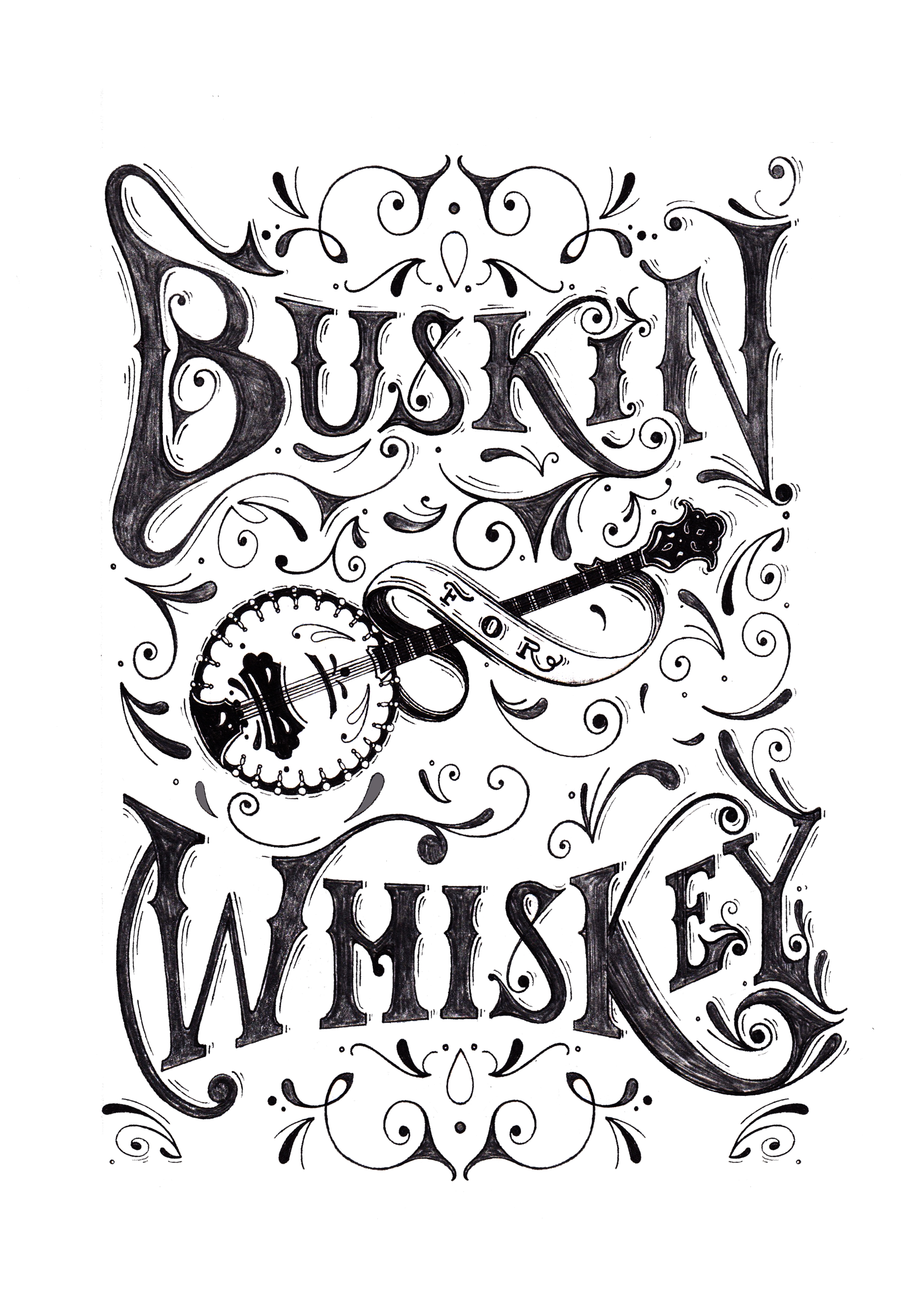 Buskin' For Whiskey - Nashville Typographic Illustration for Flag & Anthem Clothing, 2016.