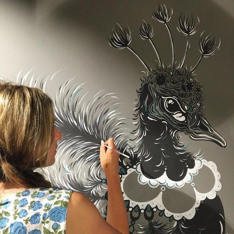 PEACOCK CLOSE UP - 5m Peacock Mural for Love Koffee, St. ALbans Store.Freehand, Farrow & Ball Railings, Vardo & Welvet.July 2016.