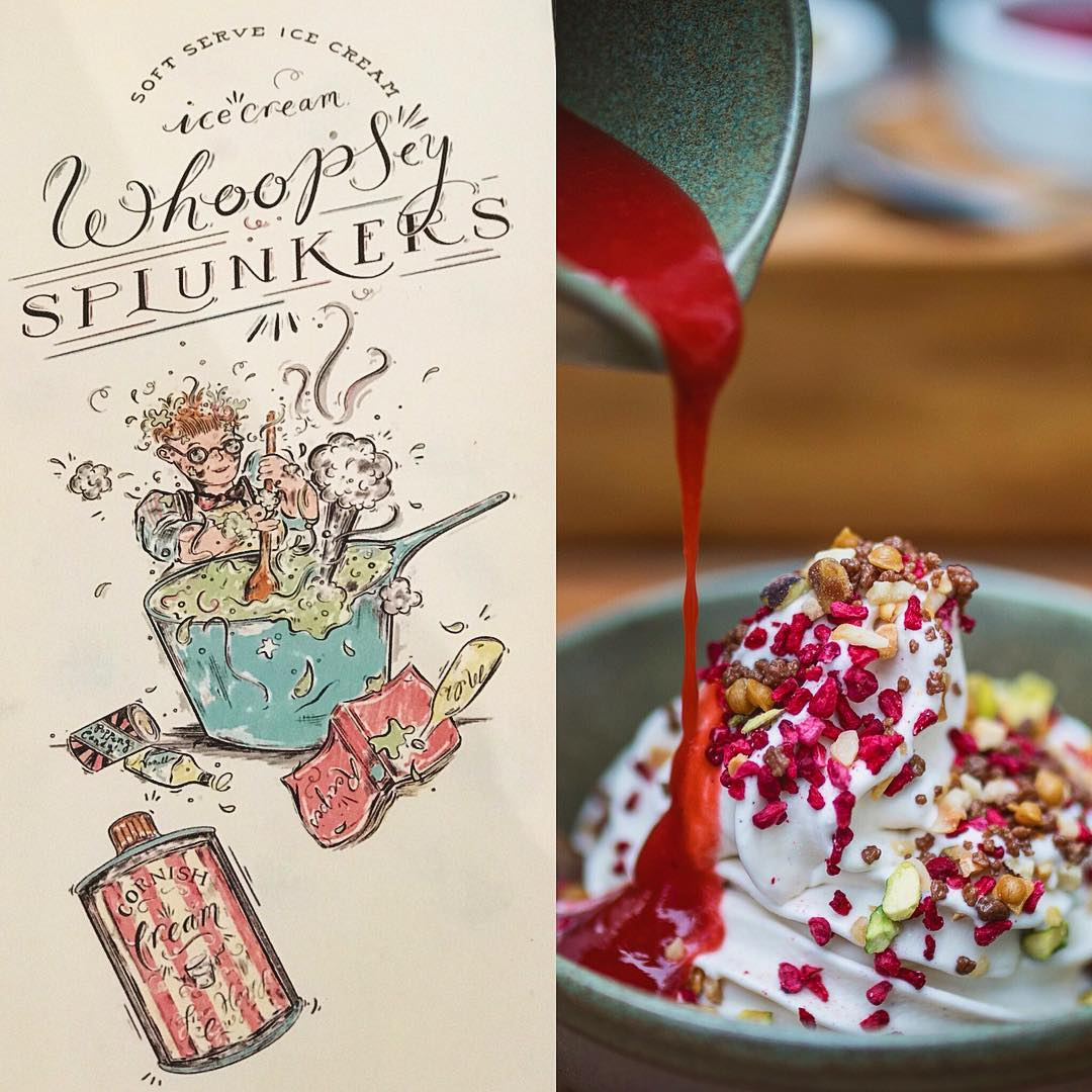 Whoopsey Splunkers! - Rojano's commissioned me to illustrate 'Whoopsey Splunkers' - A playful nostalgic dessert inspired by Paul's childhood, Roald Dahl's 'George's Marvellous Medicine' and holidays to Cornwall.