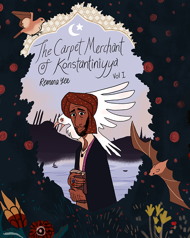 - THE CARPET MERCHANT OF KONSTANTINIYYA(http://reimenayee.com/the-carpet-merchant-of-konstantiniyya/)2018 Eisner Award nomineeA two-volume graphic novel set in 17th century Istanbul and 18th century England, centering on a carpet merchant and his relationship with faith, love and home in the aftermath of his death by a vampire.A historical romance with a modern, satirical take on Gothic fiction and the literary vampire genre. It builds on positive Muslim representation, and is heavily inspired by Ottoman miniatures and the Rococo aesthetic.